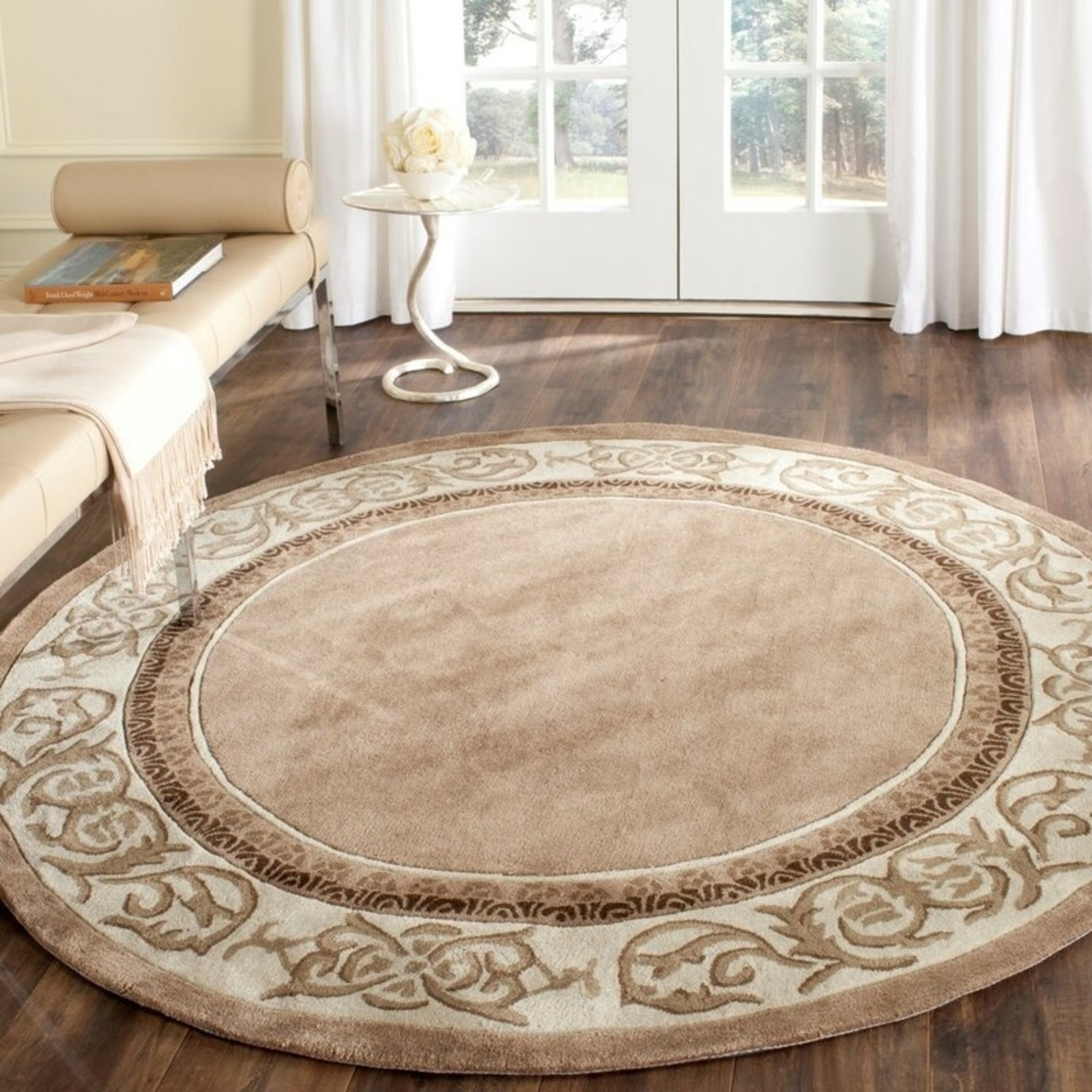 *6' Round - Fullmer Hand-Hooked Brown/Mocha/Ivory Area Rug
