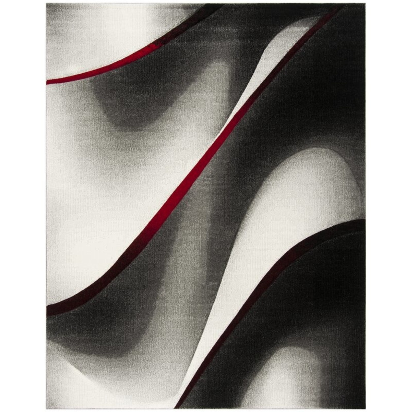 """*6'7"""" x 9' - Anne Abstract Gray/Red Area Rug"""