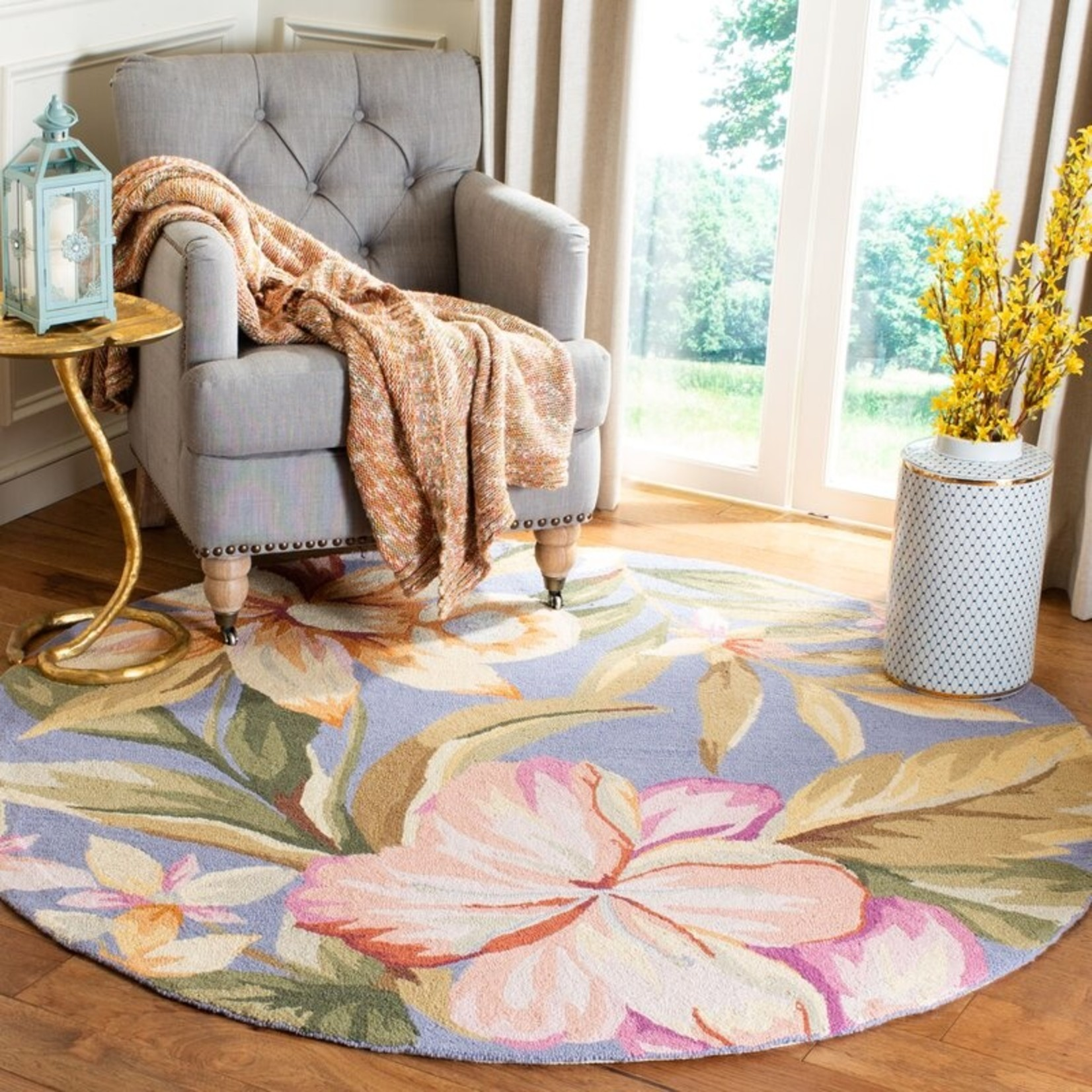 *8' Round - Chelsea Floral Handmade Looped/Hooked Wool Blue Area Rug - Dirt on Back