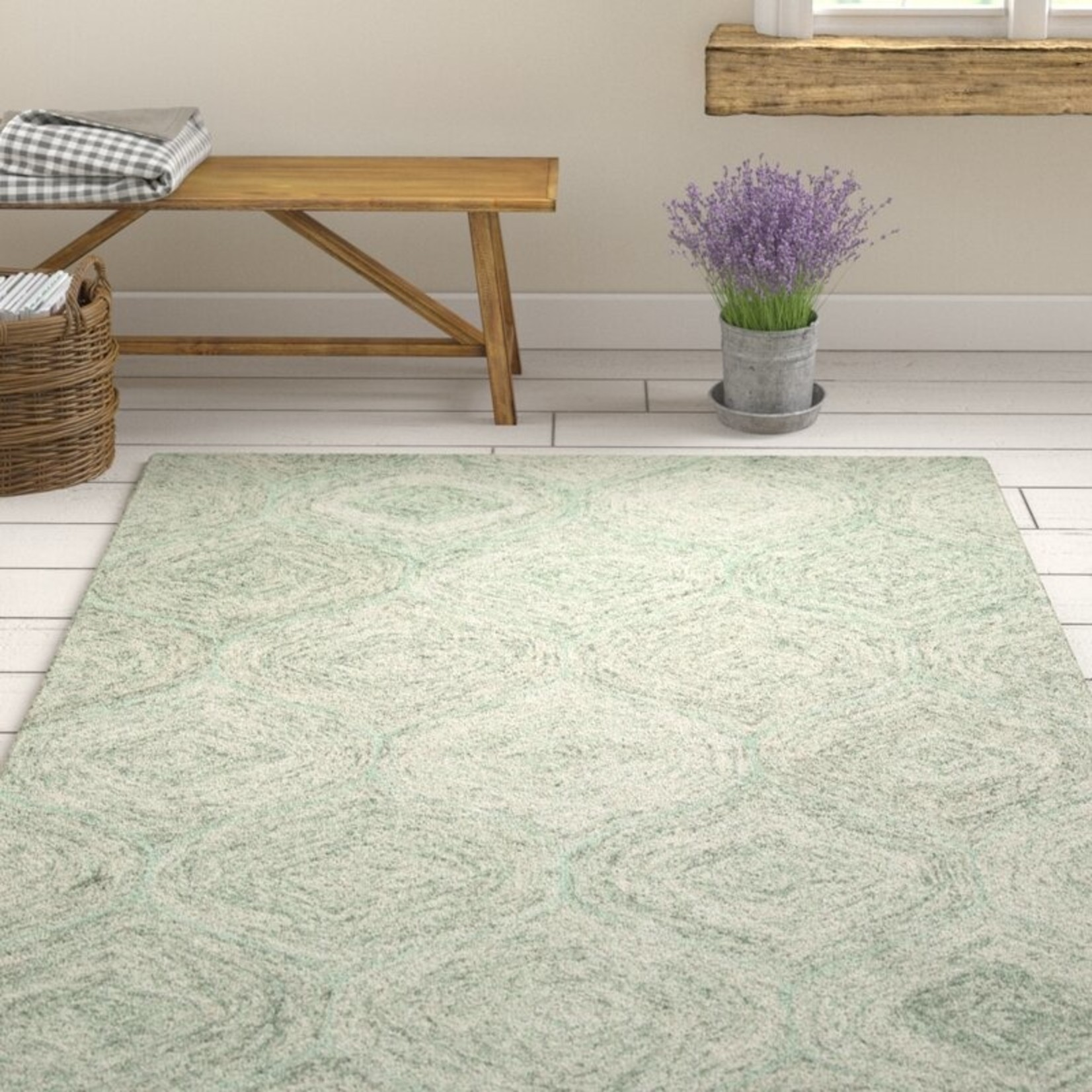 *8' x 10' - Pershing Hand-Tufted Wool Green Area Rug - Dirt on Back