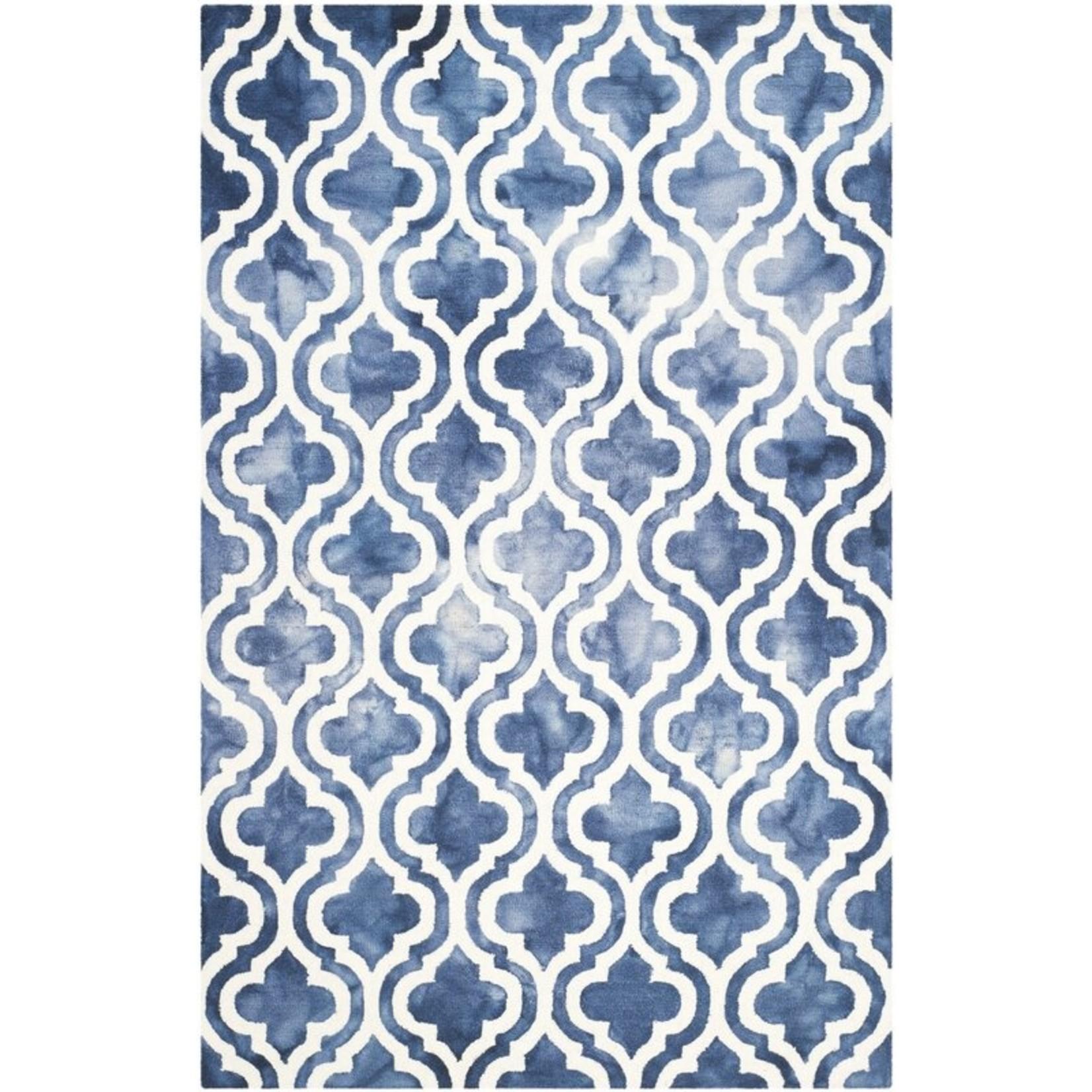 *4' x 6' - Adelei Geometric Handmade Wool Navy Area Rug