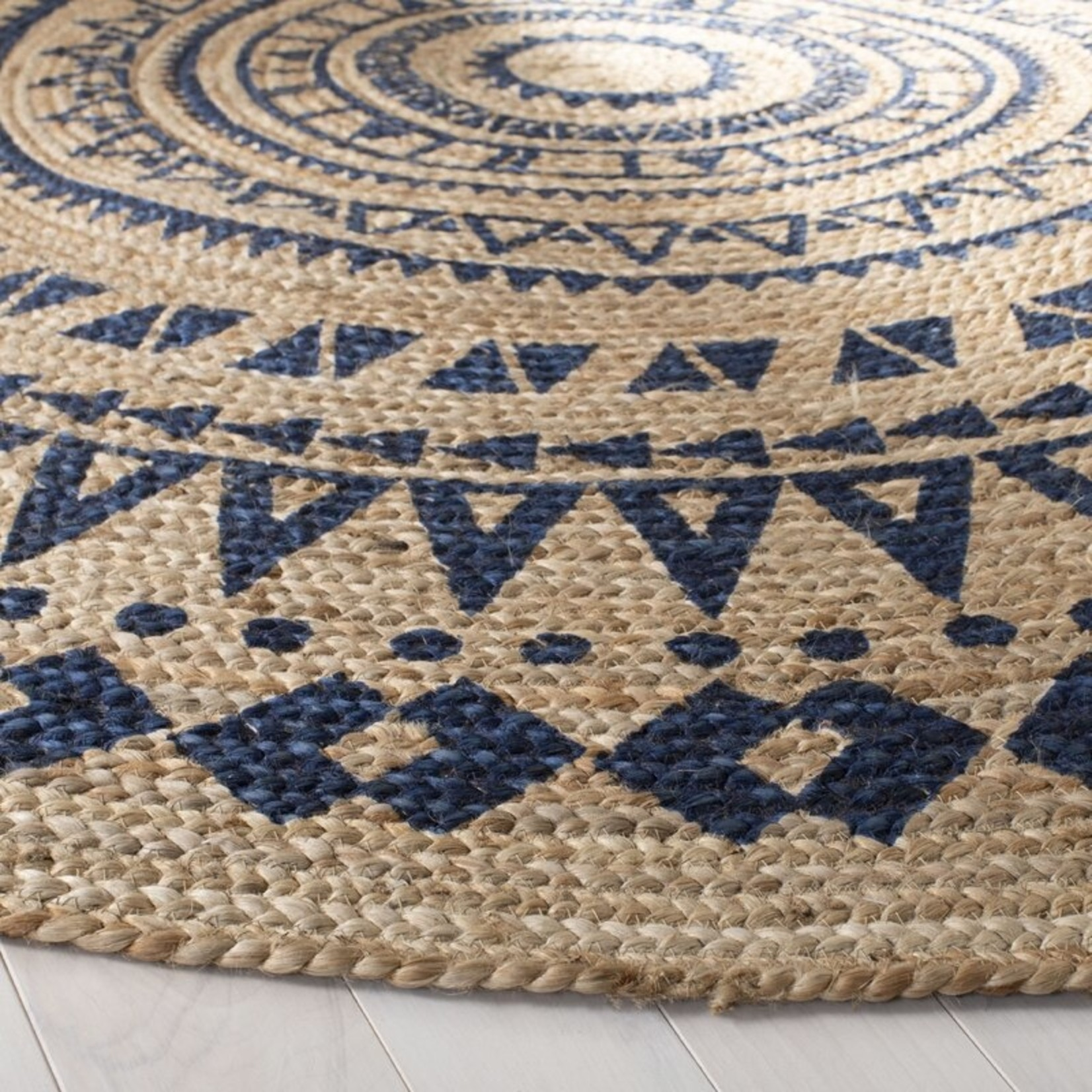 *3' Round - MaryJane Natural Handwoven Royal Blue Area Rug