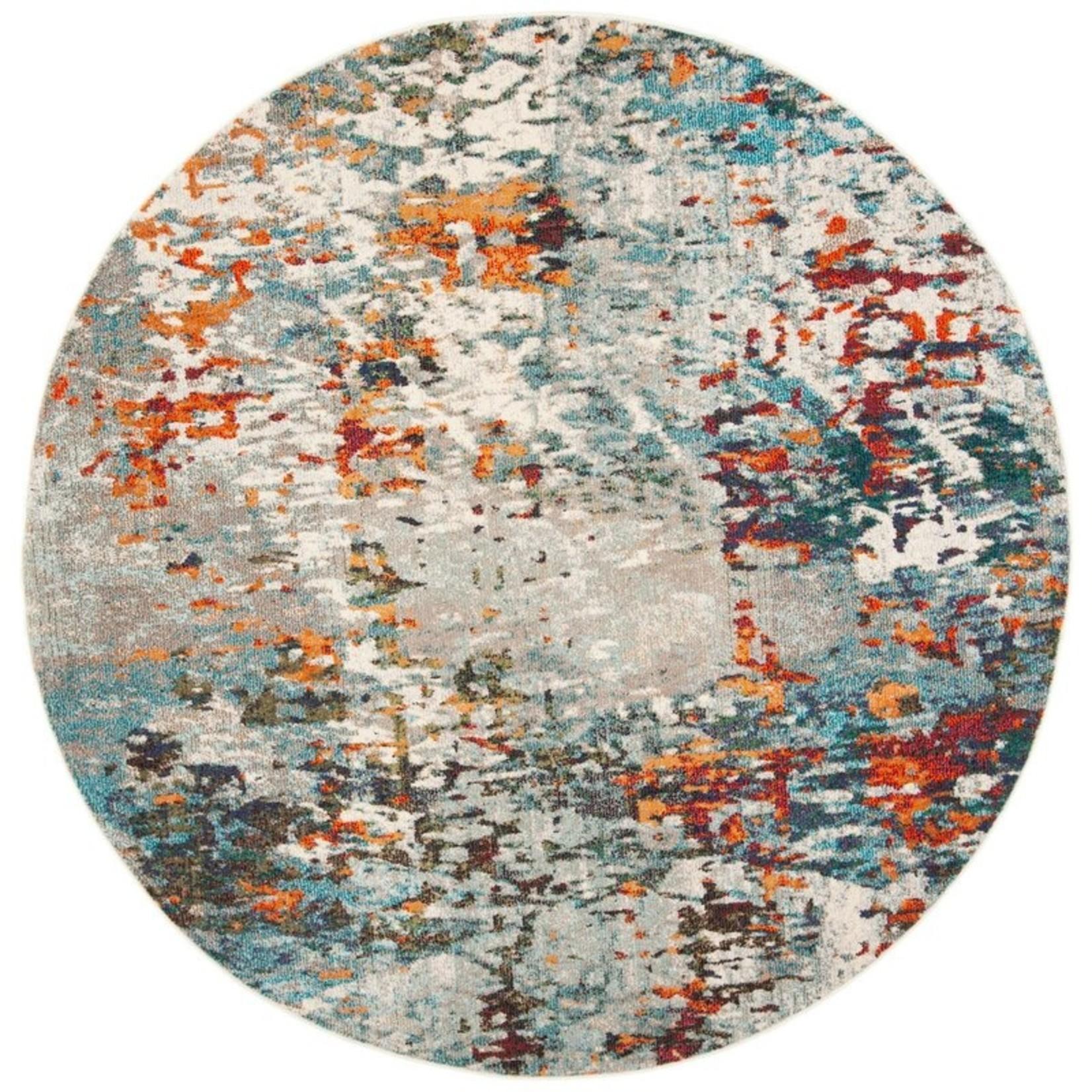 *3' Round - Neasa Gray/Blue/Orange Rug