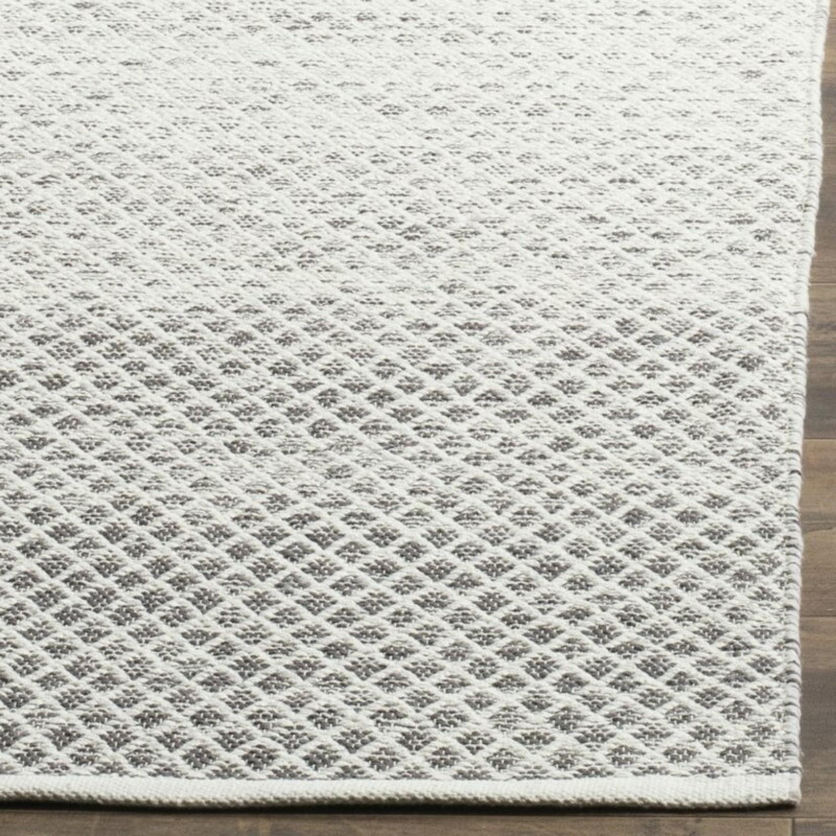 *3' x 5' - Amaya Geometric Hand-Woven Flatweave Cotton Light Gray/Ivory Area Rug