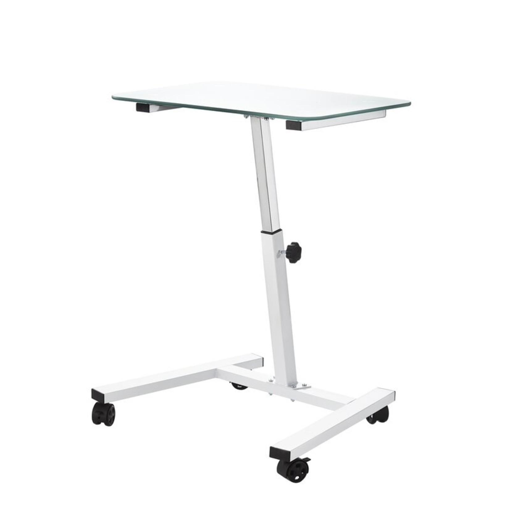 "*Seville Classics Airlift 23.6"" Tempered Glass Height Adjustable Mobile Laptop Desk Cart - White"