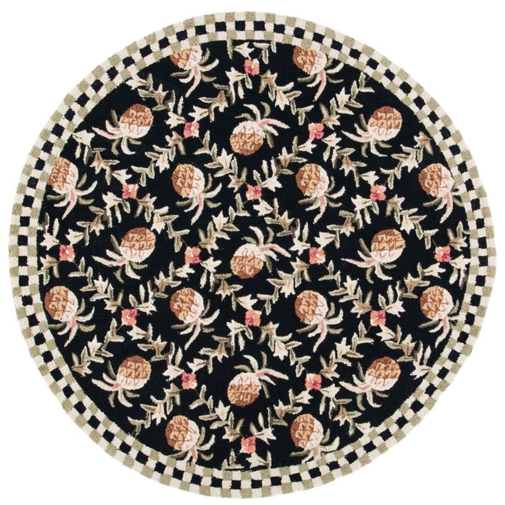 """*5'6"""" Round - Kinchen Hand Hooked Wool Black/Ivory Area Rug"""