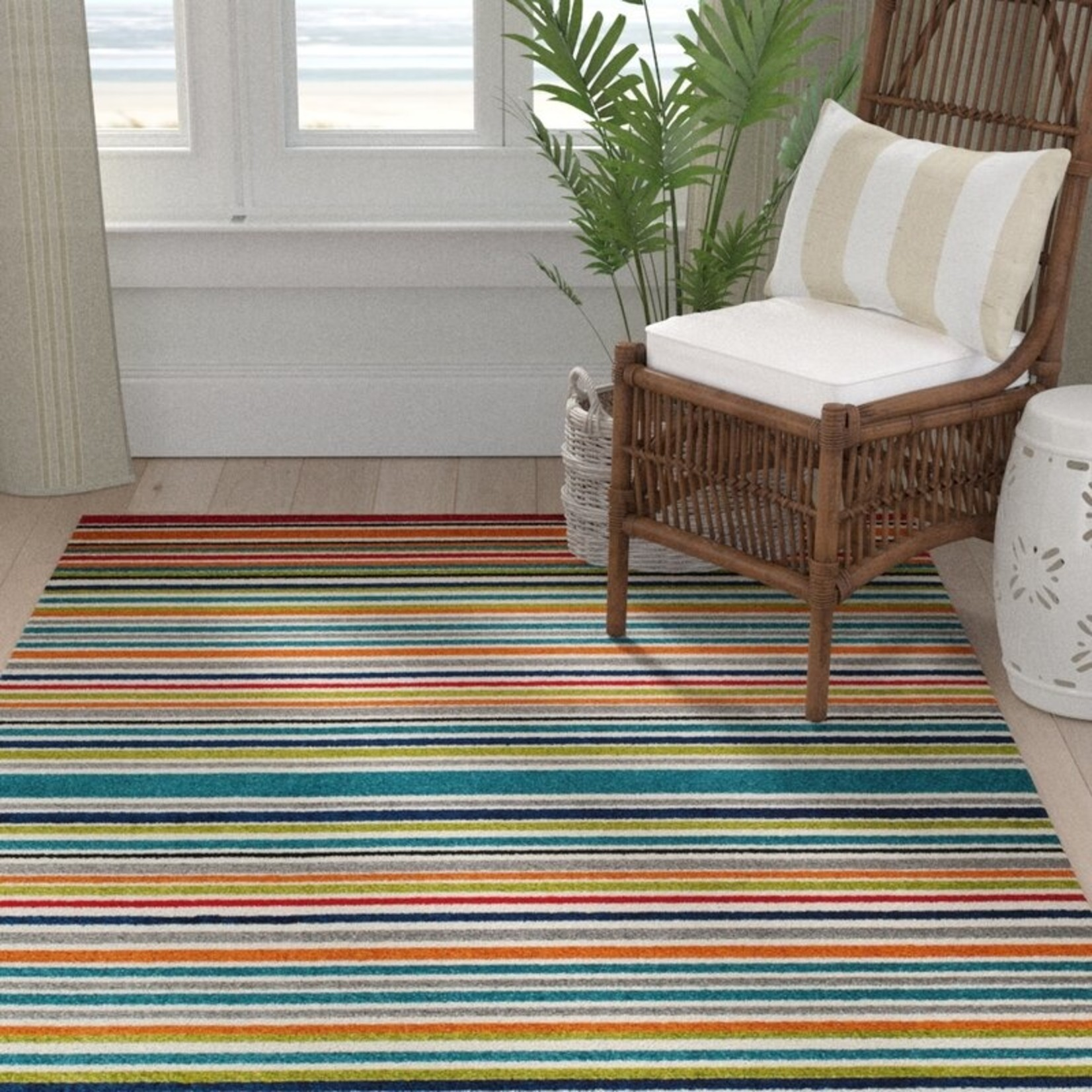 """*7'10"""" x 9'10"""" - Strathaven Turquoise Indoor/Outdoor Striped Area Rug"""