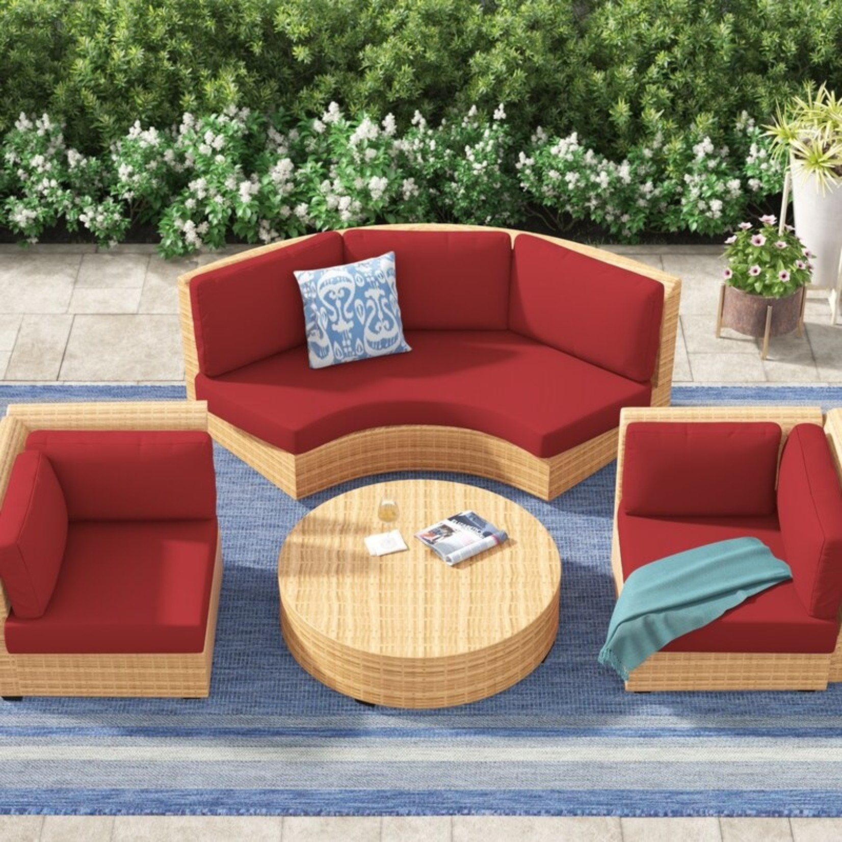 *Waterbury 10 Piece Outdoor High Back Cushion Cover Set - Terracotta - Covers Only (Final Sale)