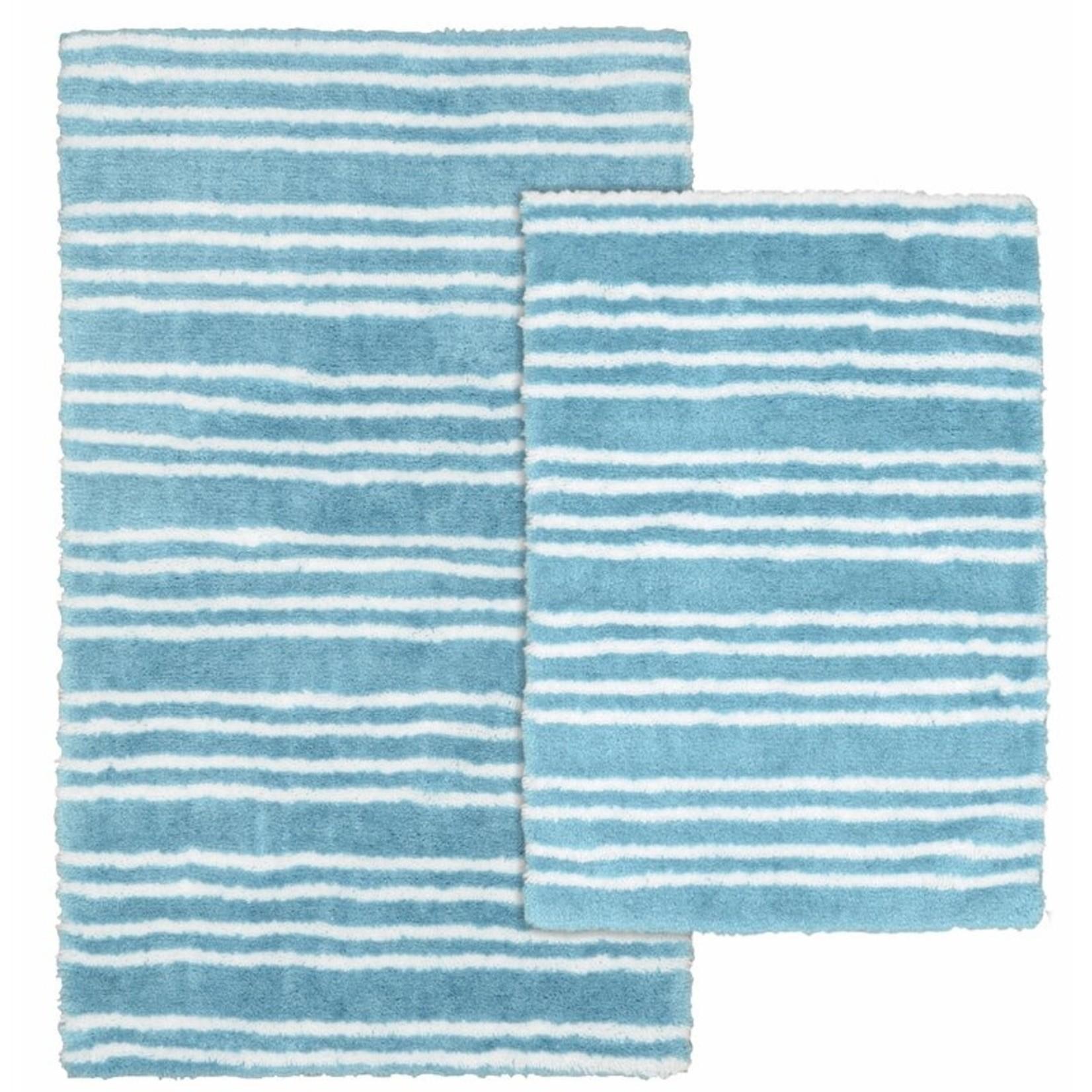 *Scurlock Washable Rectangle Non-Slip Striped 2-Piece Bath Rug Set