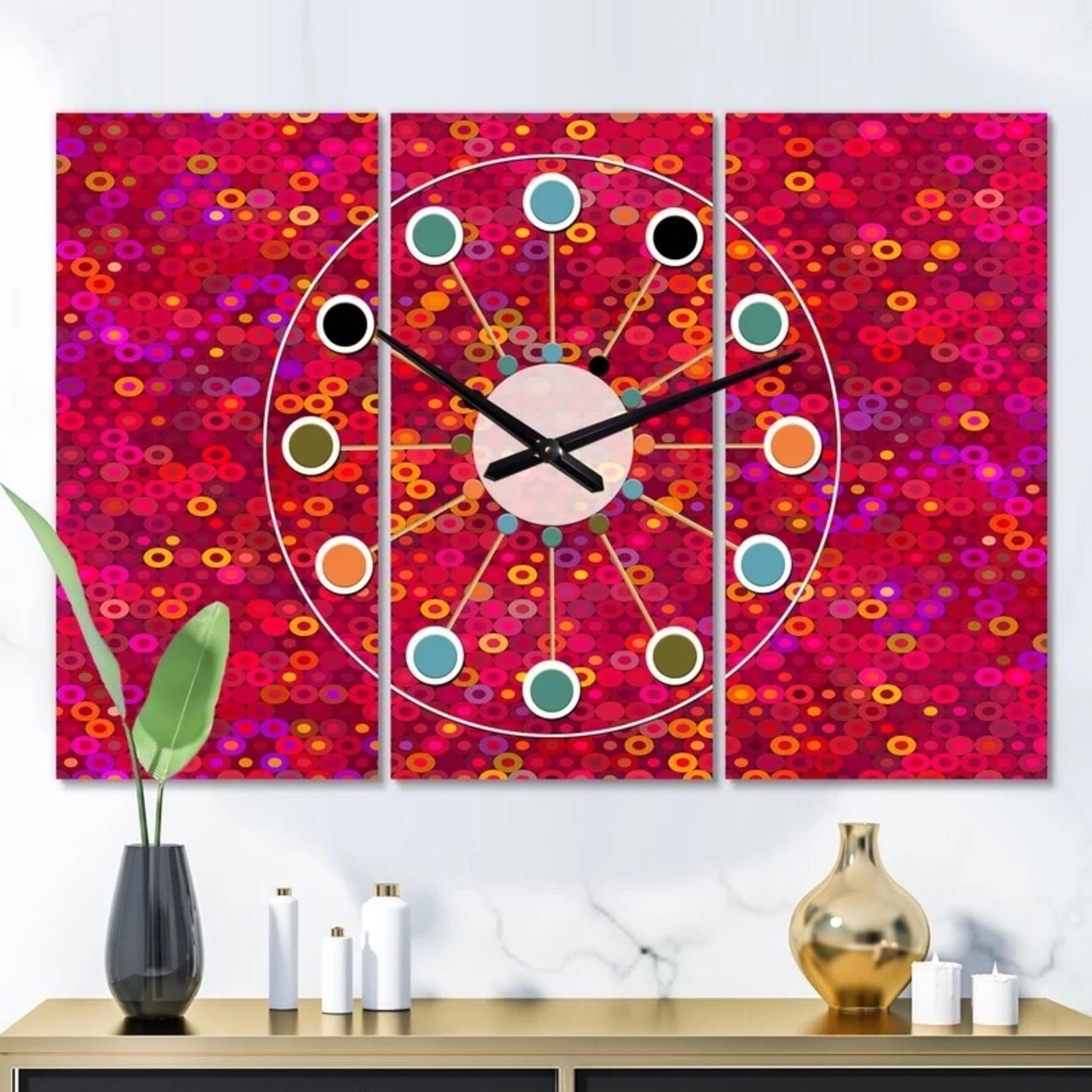 *Oversized Circular Retro III Mid-Century Wall Clock - 3 Piece