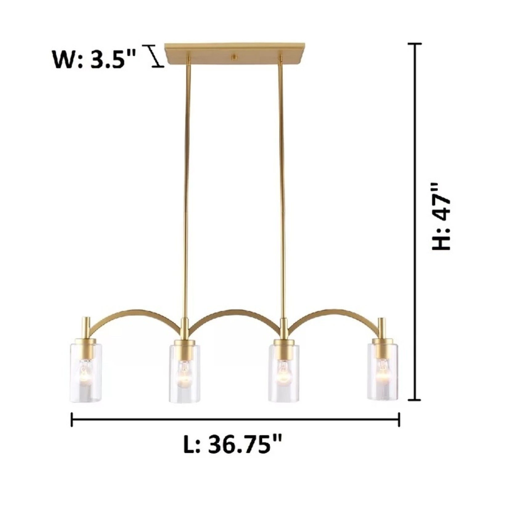 *Chasity 4 - Light Kitchen Island Linear Pendant - Antique Gold