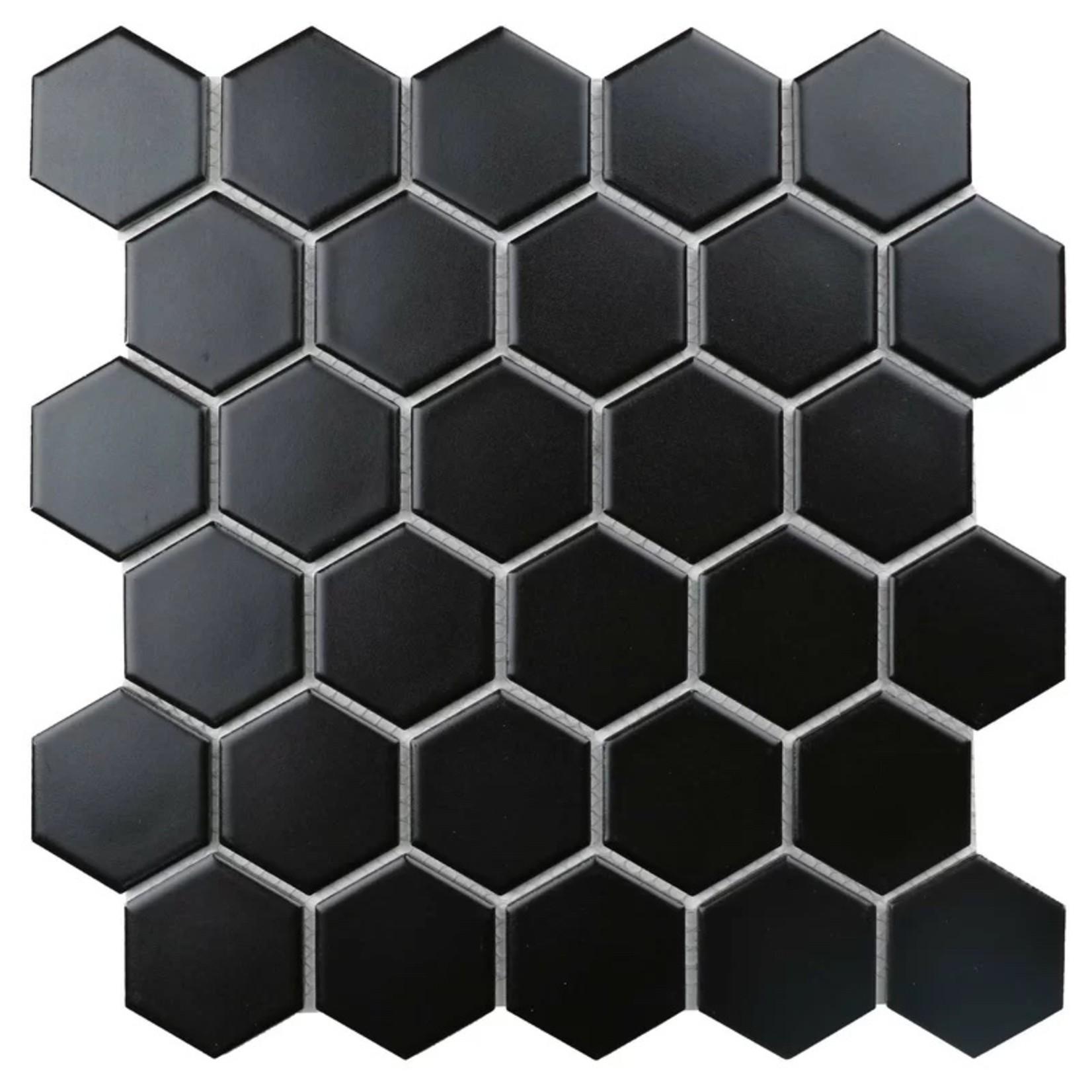 "*Value Series 2"" x 2"" Porcelain Honeycomb Mosaic Tile - Black - 2 tiles with defects"
