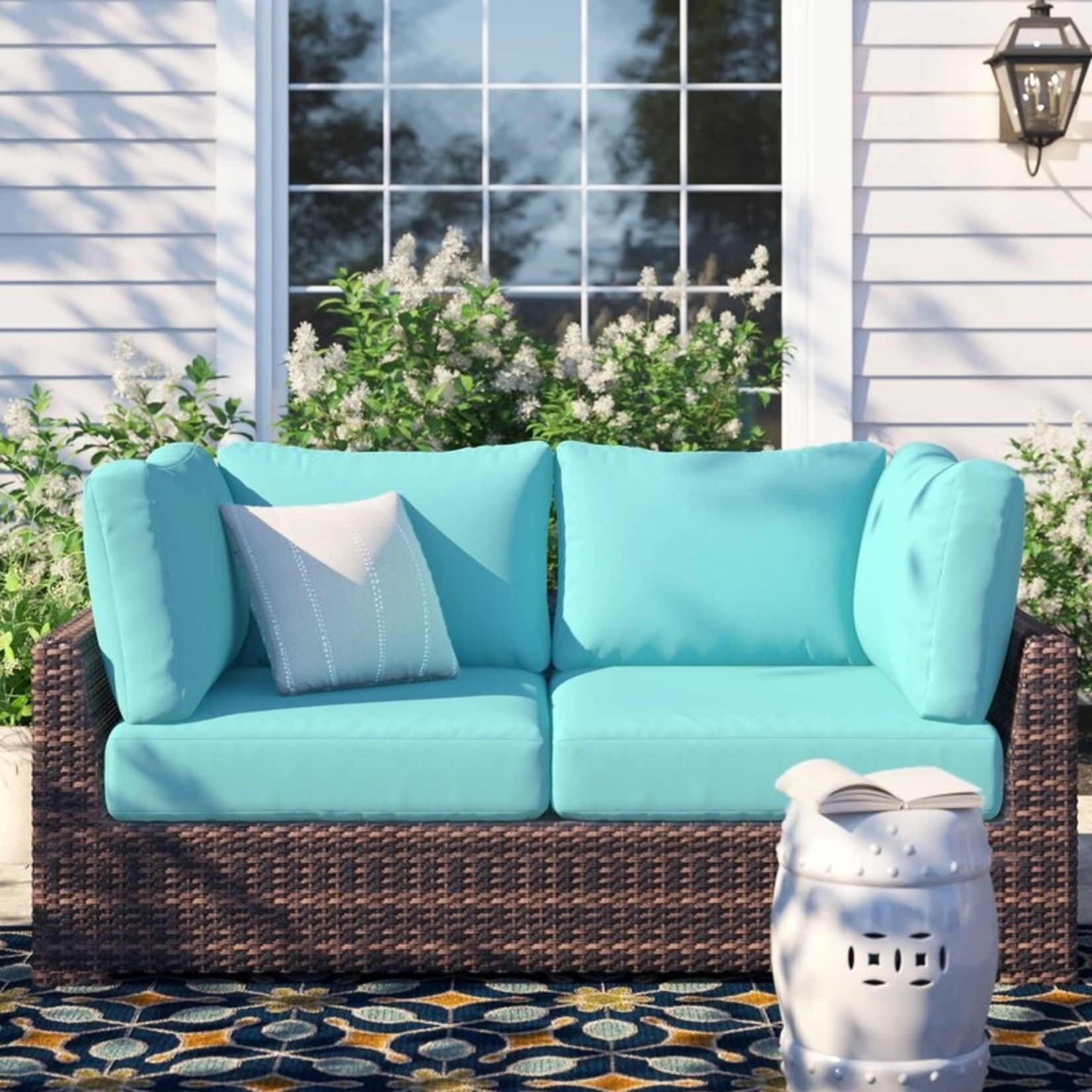 *Waterbury 6 Piece Indoor/Outdoor High Back Cushion Cover Set- Aruba - Covers Only - Final Sale
