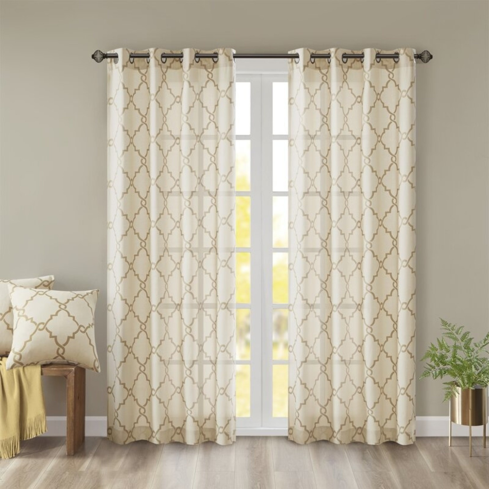"*Winnett Geometric Semi-Sheer Grommet Curtains - 50"" x 95"" - Set of 2"