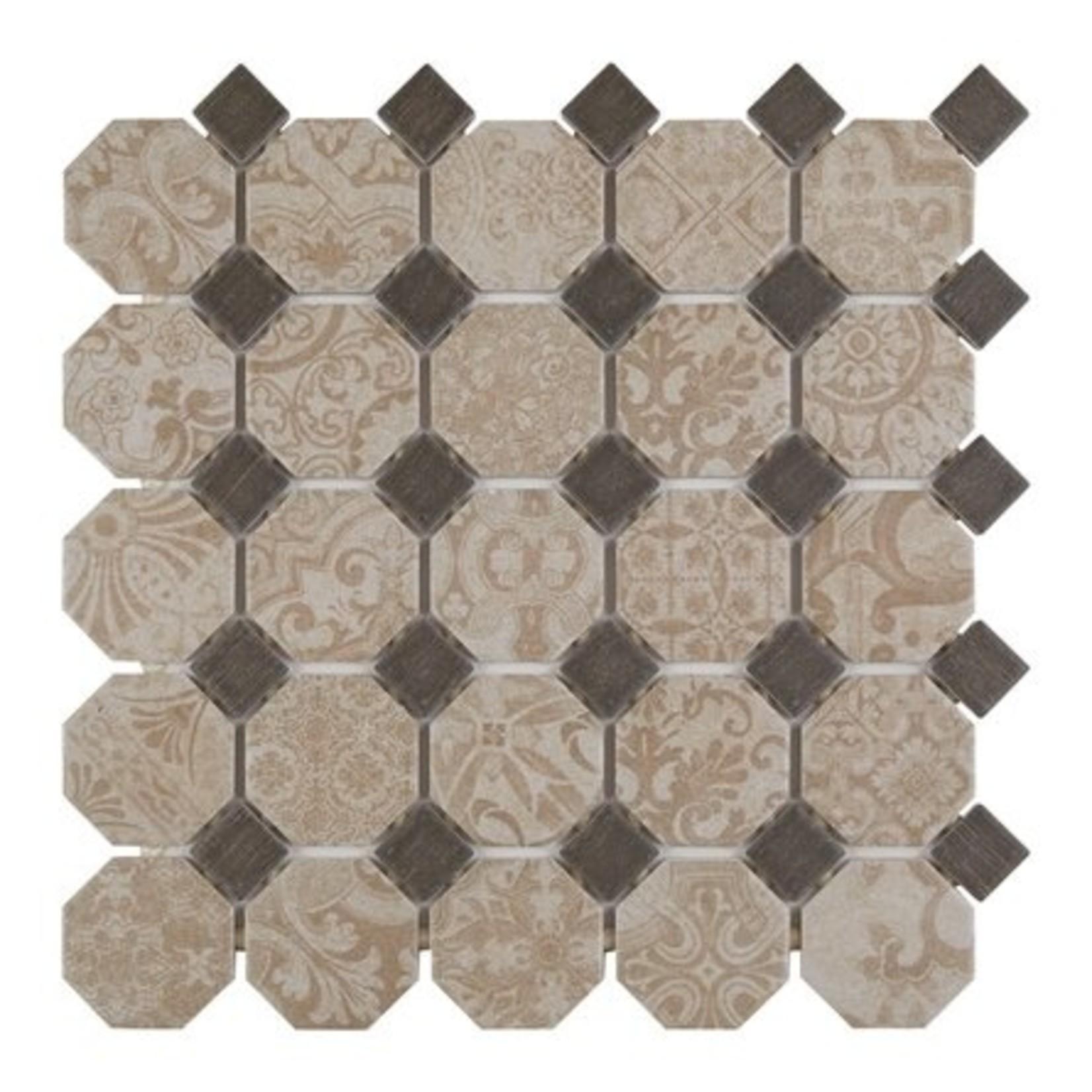 "*Rhetoric 2"" x 2"" Porcelain Octagon and Dot Mosaic Tile - 10 Sq.Ft."