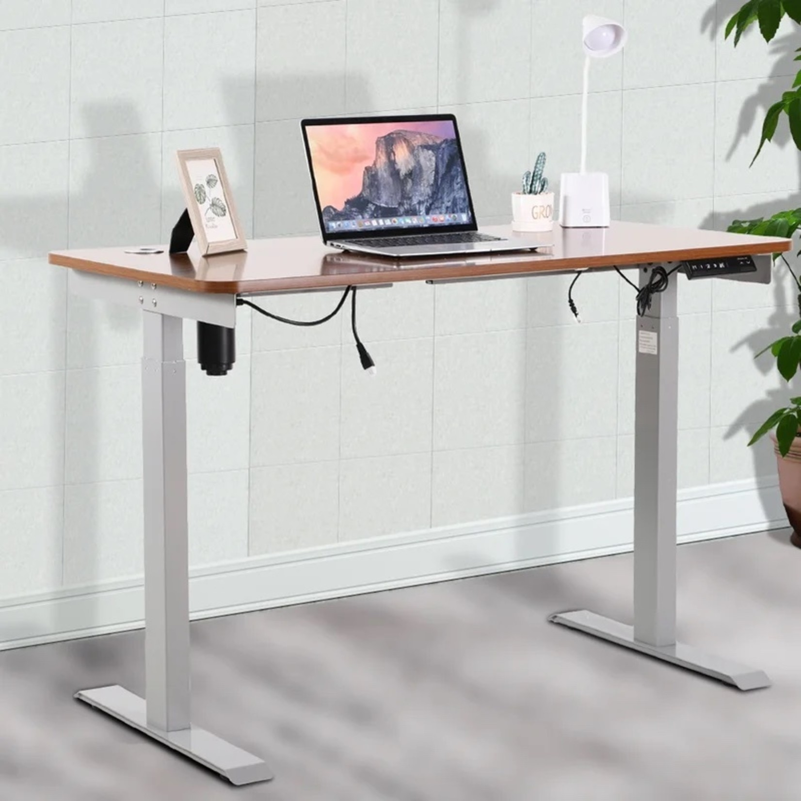 *Home Office Single Motor Adjustable Height Electric Standing Desk - Base Only - Grey