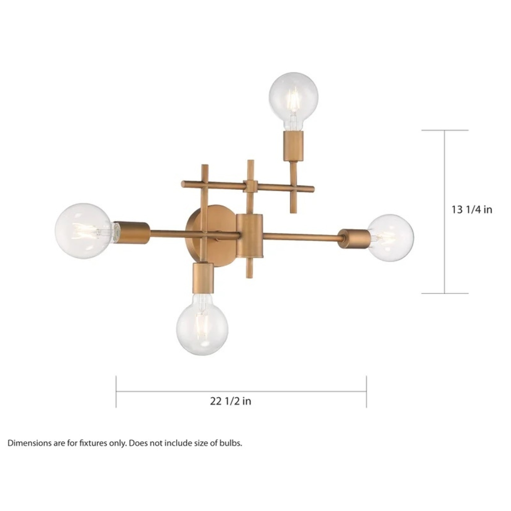 *Mccleskey 4-Light Dimmable Vanity Light - Aged Gold - Small Scratch