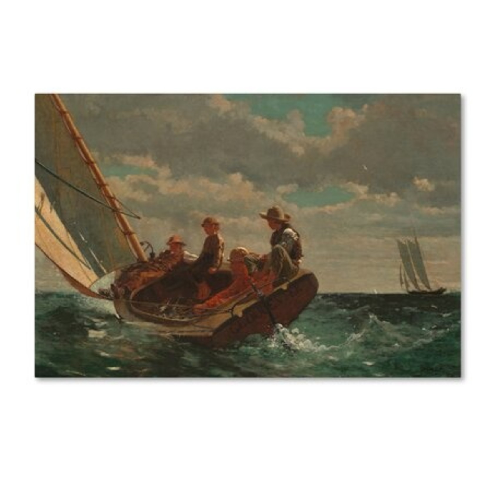 """*12"""" x 19"""" Breezing Up (A Fair Wind) 1873-76' by Winslow Homer Painting Print on Canvas"""