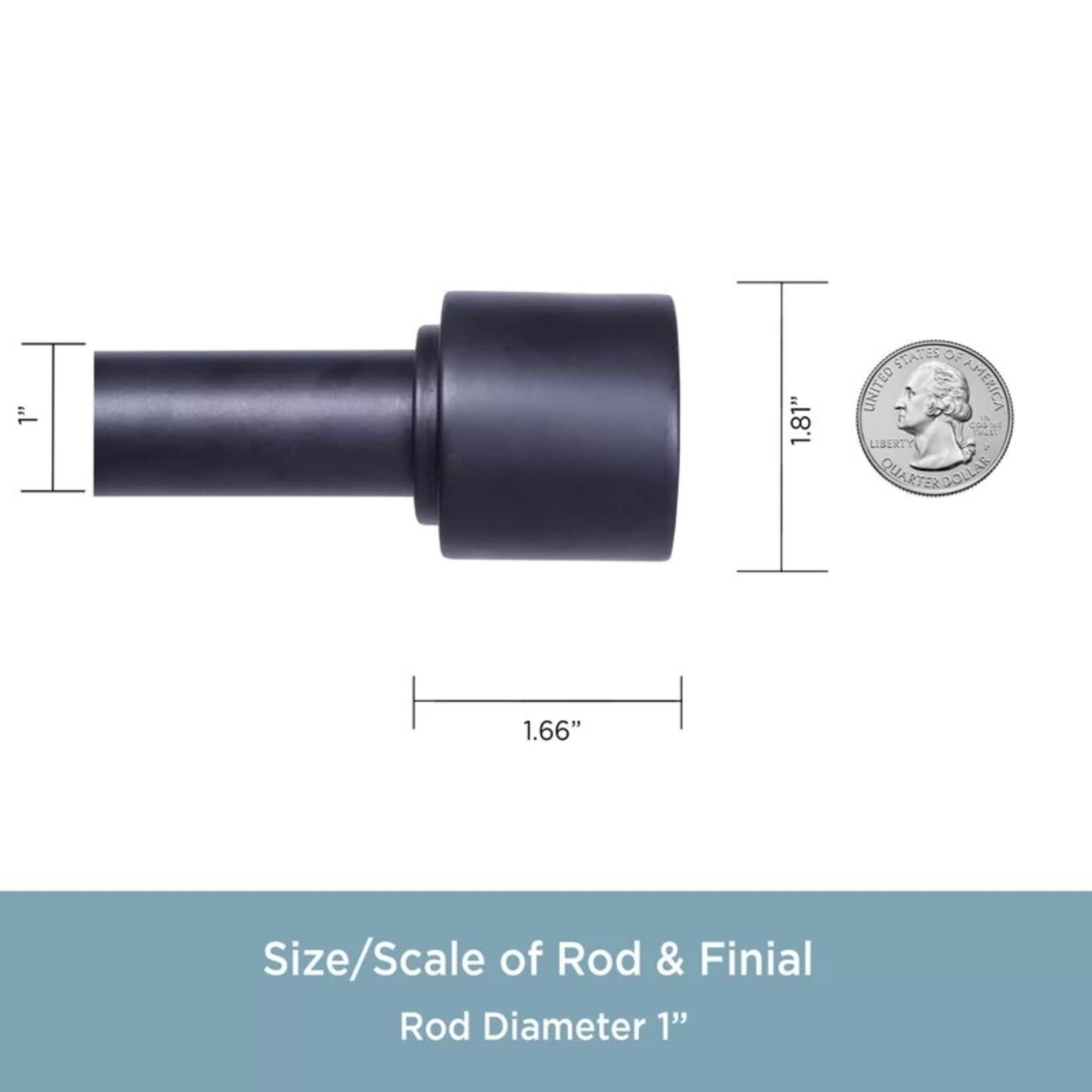 "*Fitts Adjustable 1"" Rod - Black - 36"" to 66"" - Scratched Ends - Final Sale"