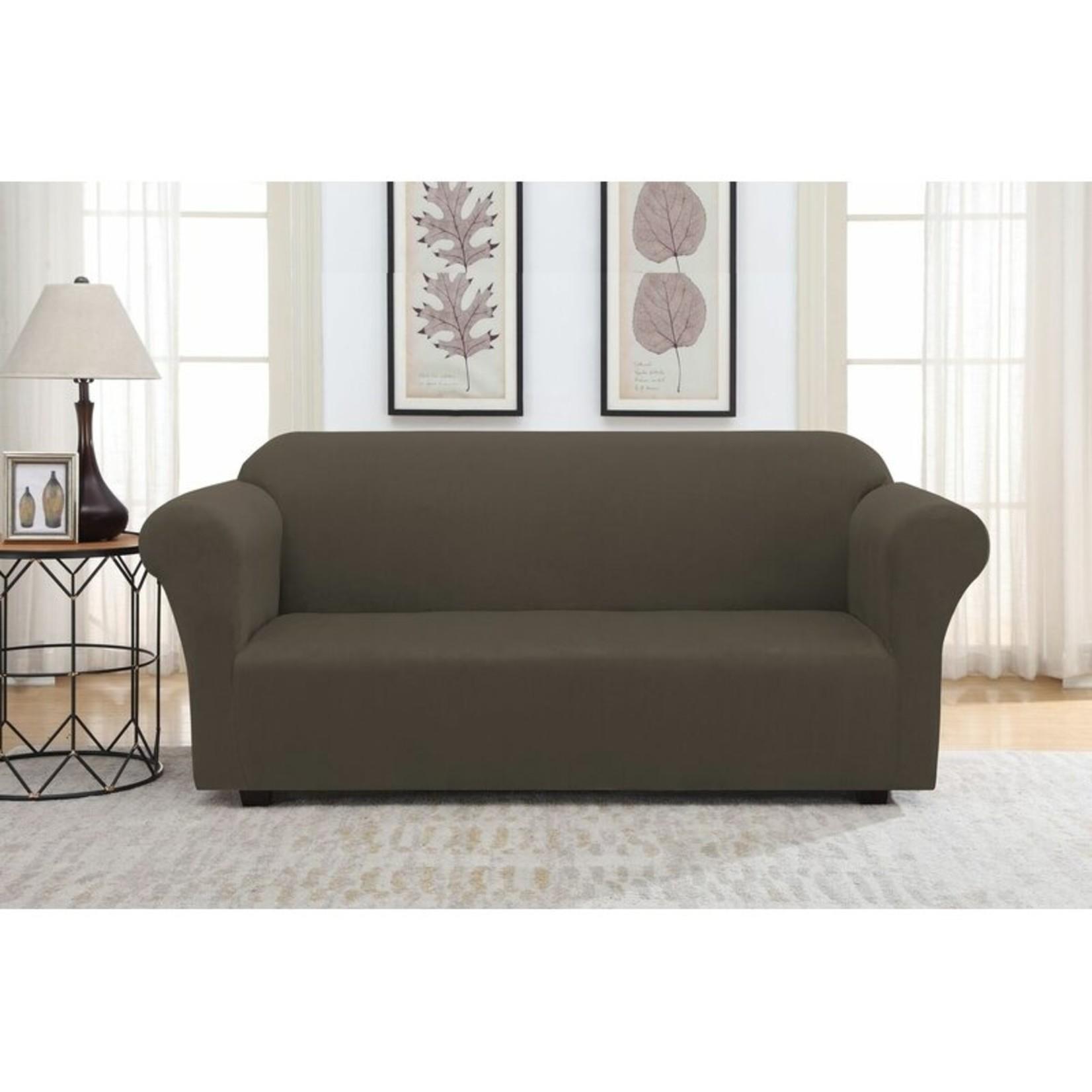 *Solid Suede Box Cushion Sofa Slipcover - Chocolate