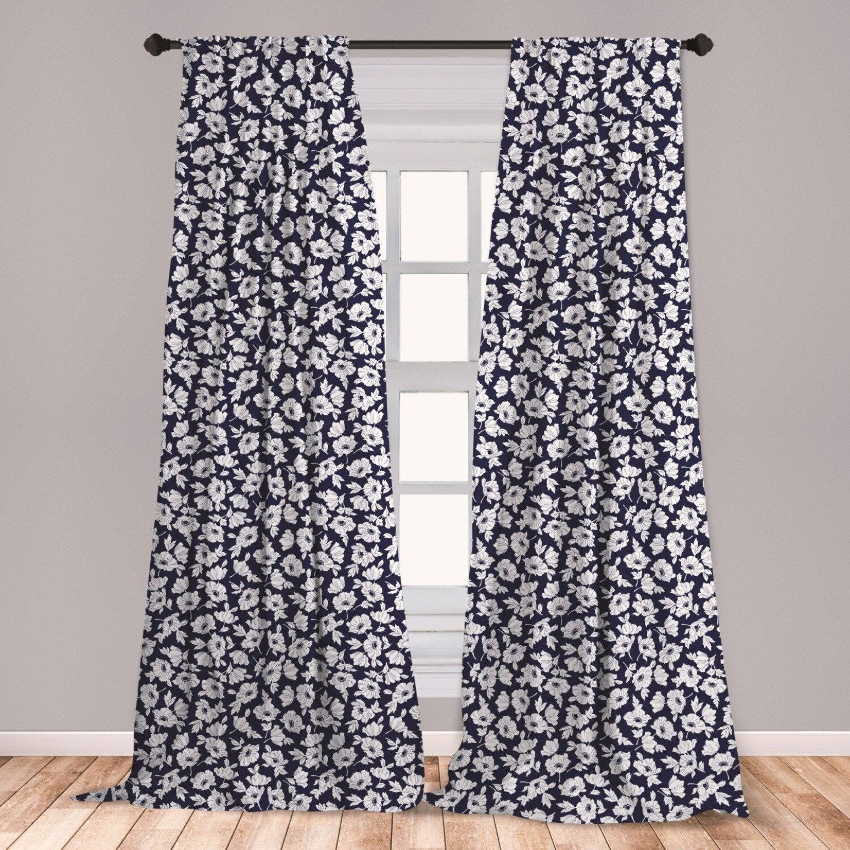"""*28"""" x 84"""" -  Amesonne Navy and White Curtains - Set of 2"""