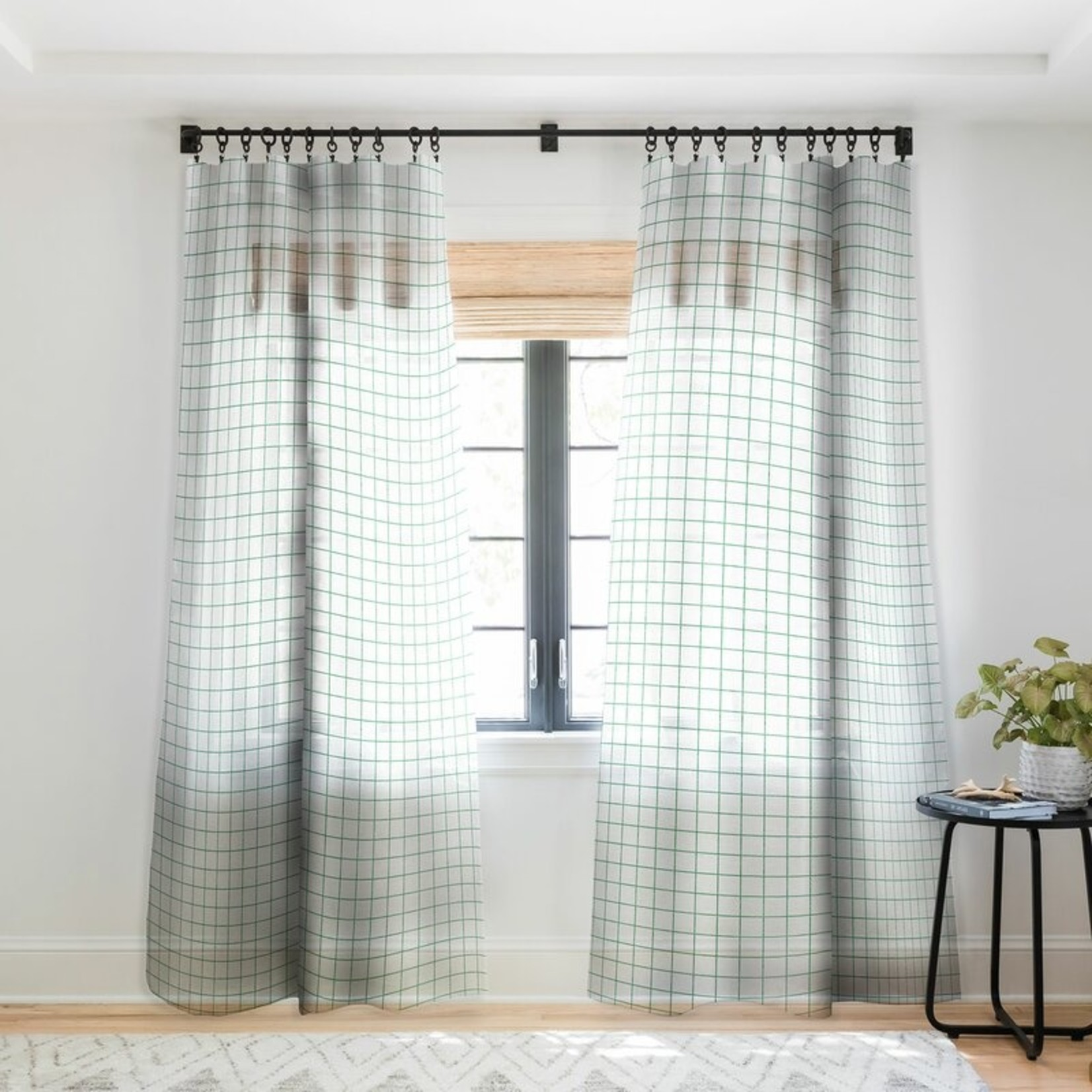 """* 50"""" x 96"""" Holli Zollinger French Linen Grid Emerald Blackout Pinch Pleat Curtain Panels - Set of 2"""