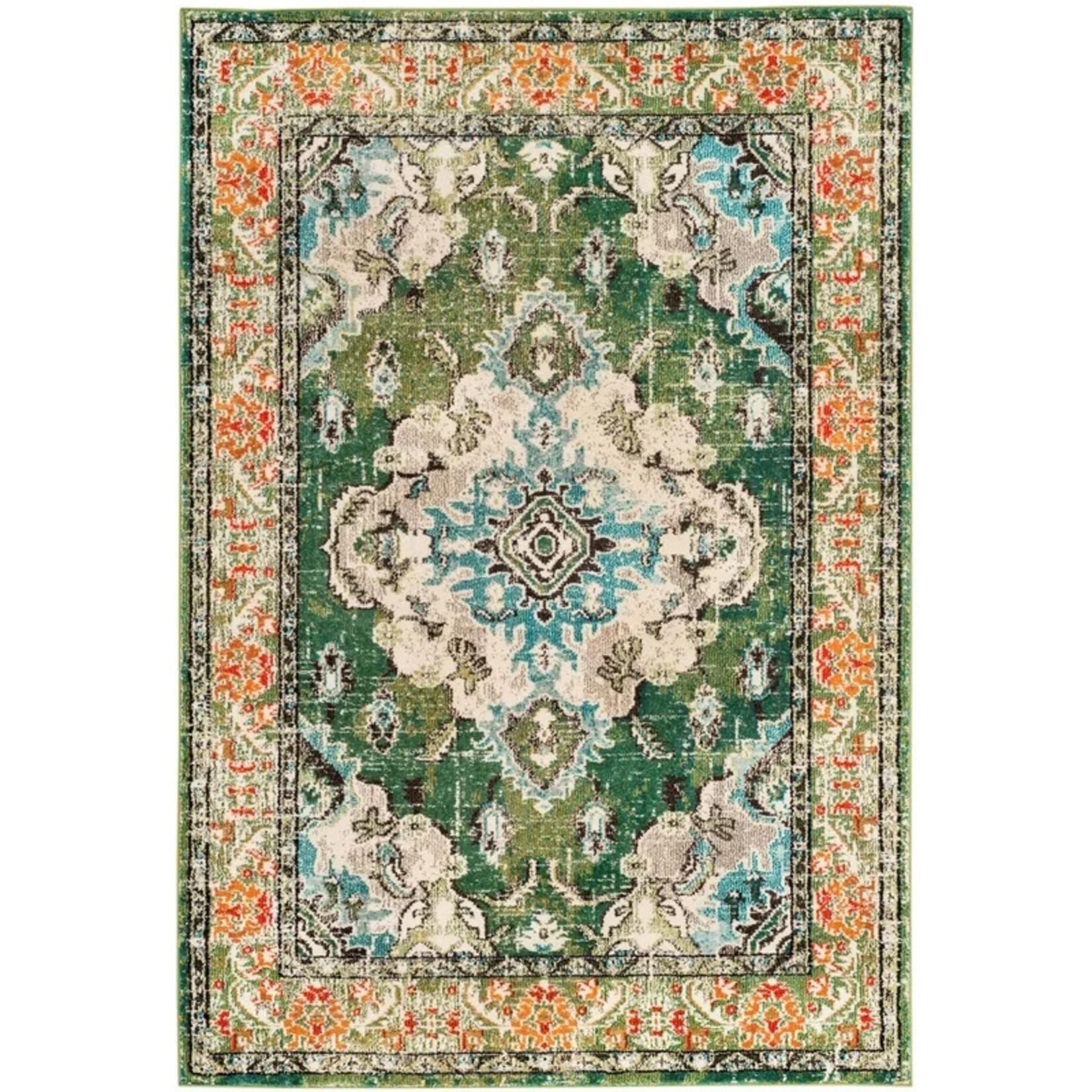 *8' x 10' - Indira Oriental Green/Light Blue Area Rug