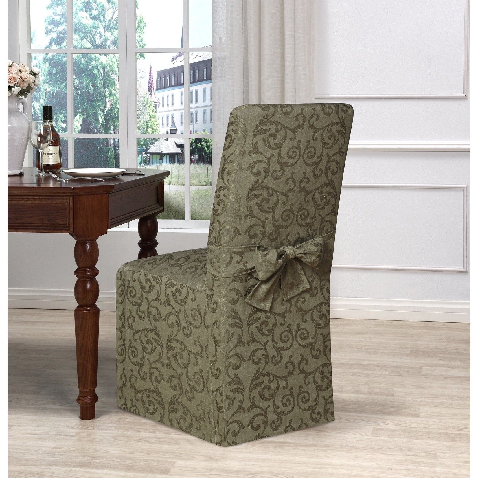 *Box Cushion Dining Chair Slipcover - Green