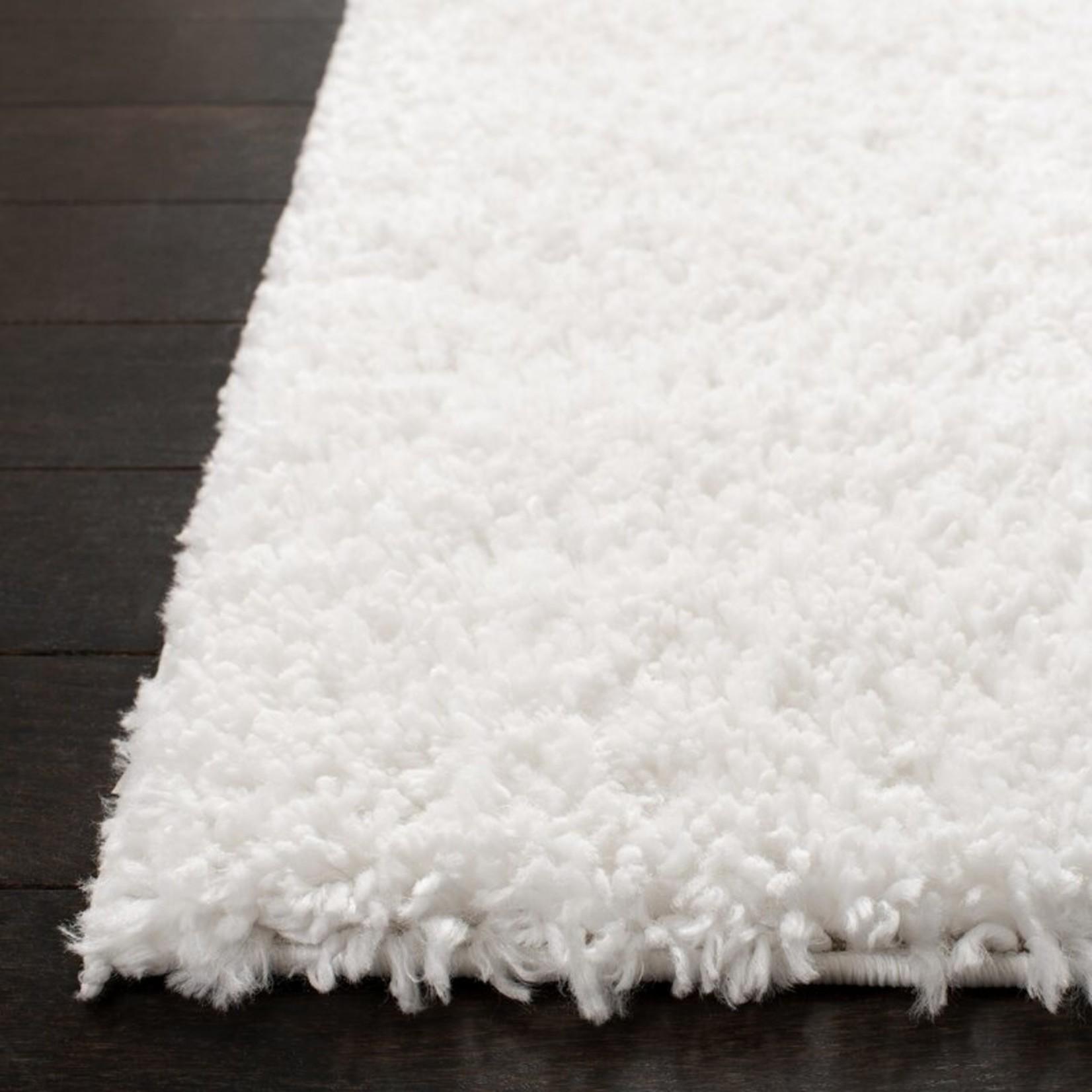 3' Square - Bartz Shag White Area Rug
