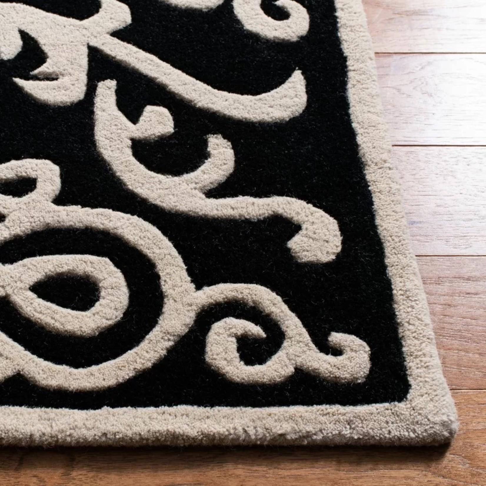 *2' x 3' - Albiero Hand-Tufted Wool Black Area Rug