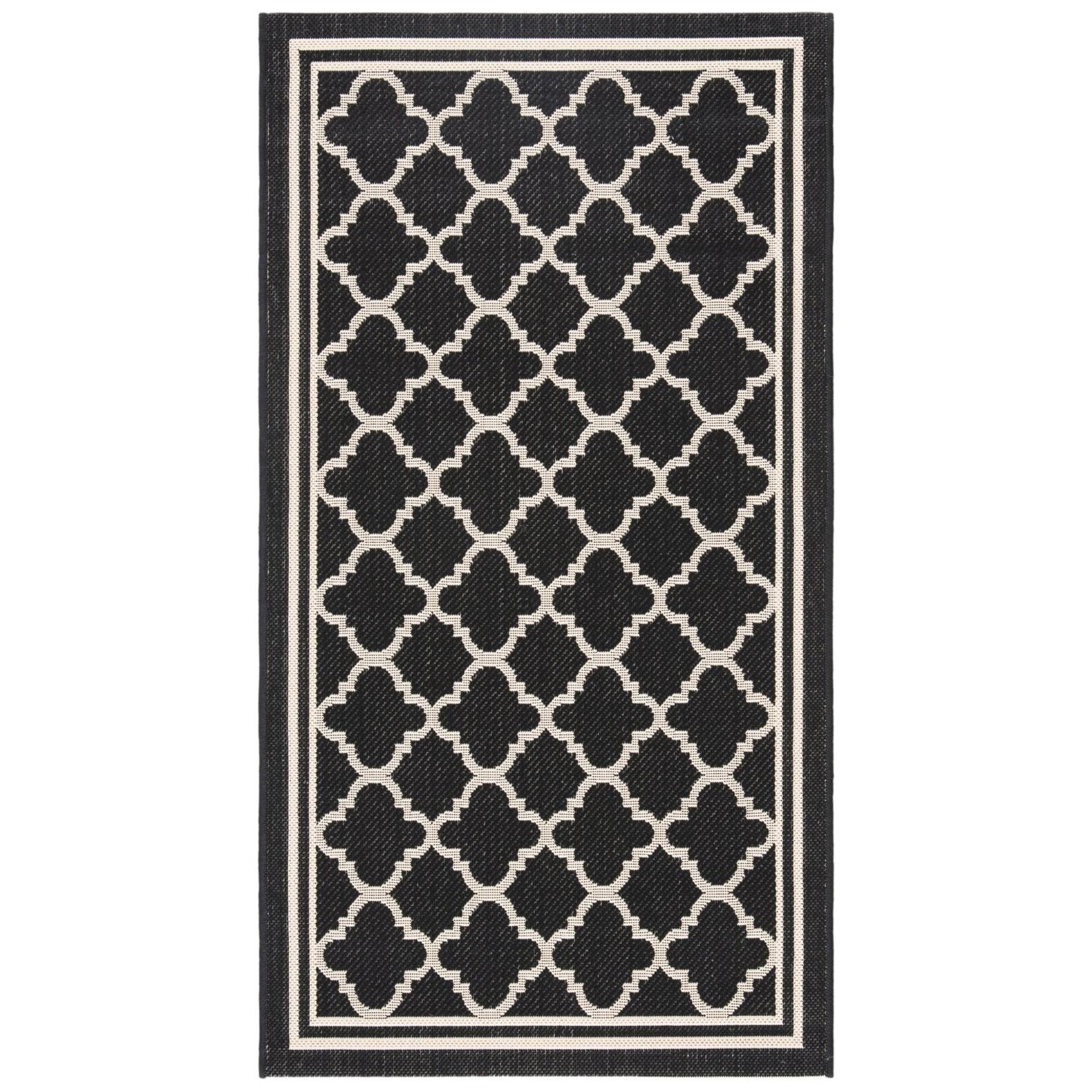 *2'3 x 8' -  Herefordshire Geometric Black/Beige Indoor/Outdoor Area Rug