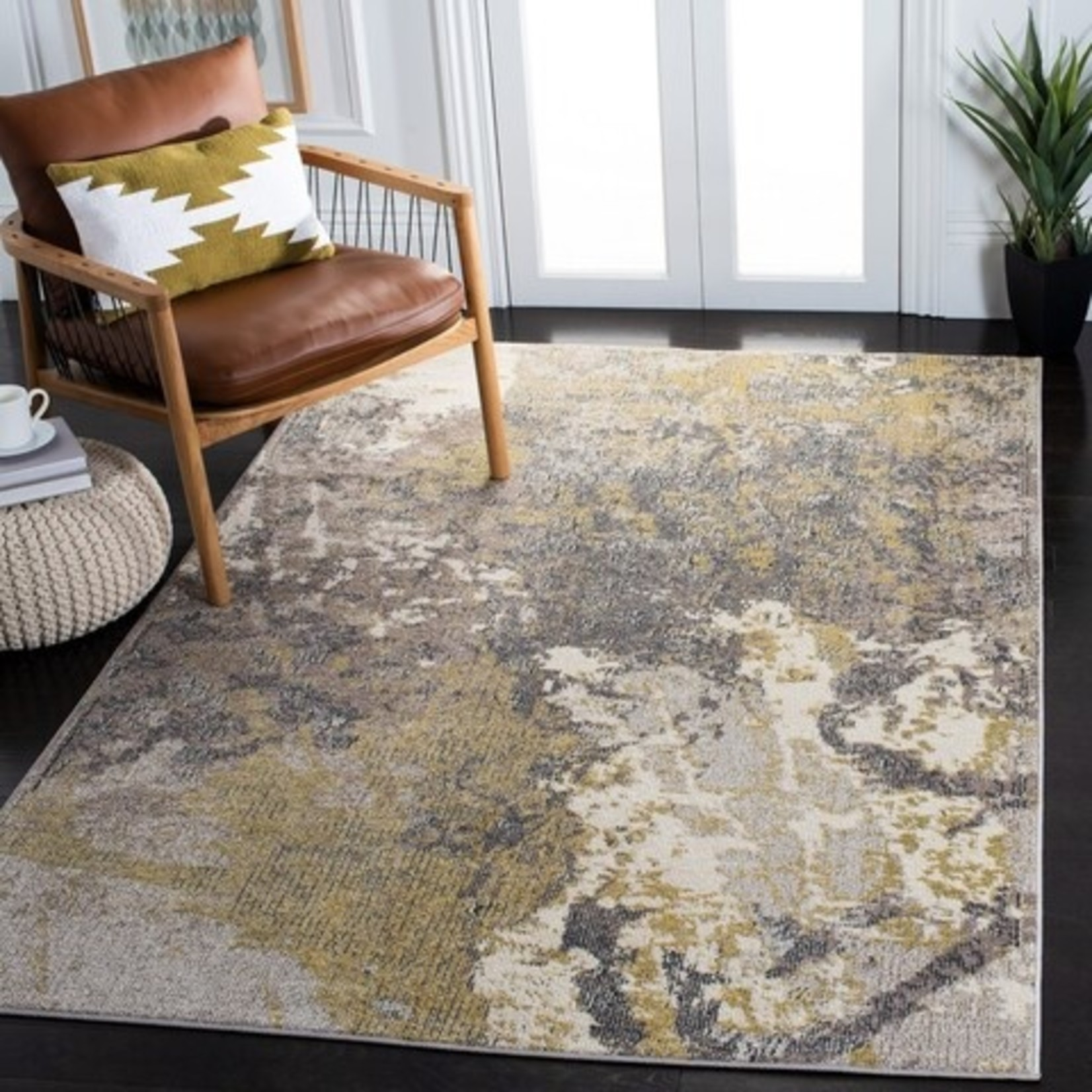 *3' x 5 - Abstract Ivory/Grey Area Rug
