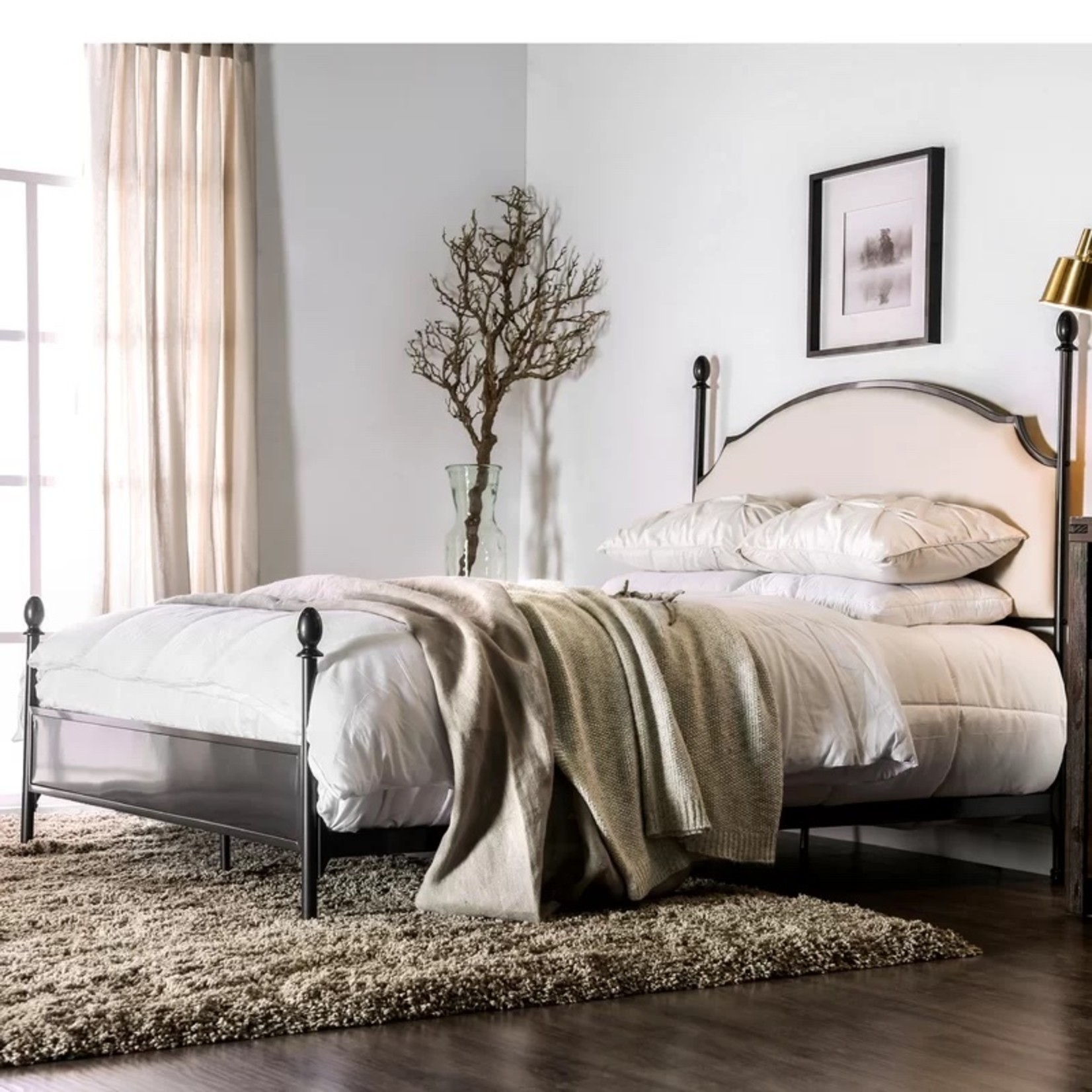 *Cali King - Aafiyah Upholstered Four Poster Bed