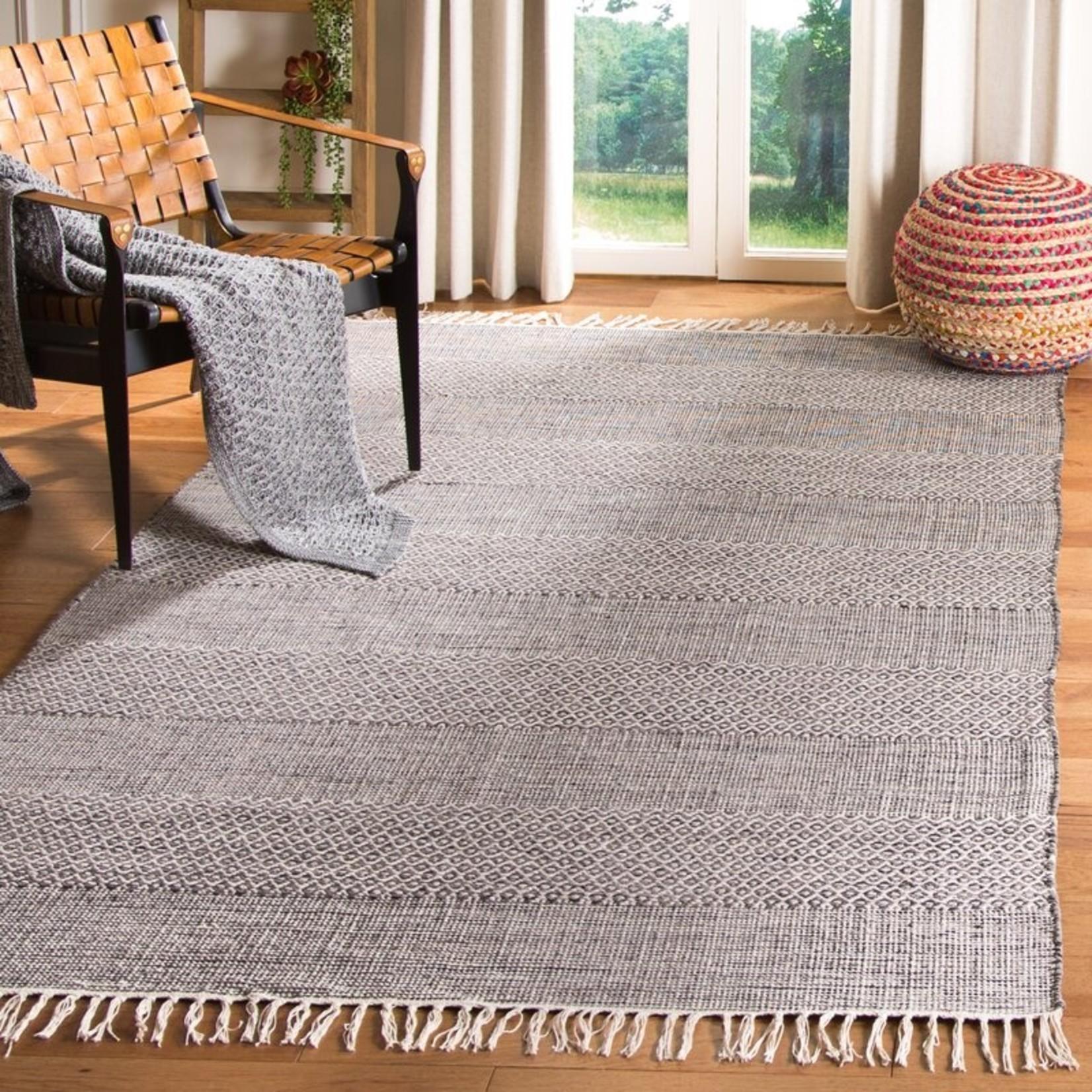 *4' x 6' -  Jodi Striped Handmade Flatweave Cotton Ivory/Anthracite Area Rug