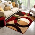 *3'3 x 5' - Chelsi Geometric Red/Beige Area Rug