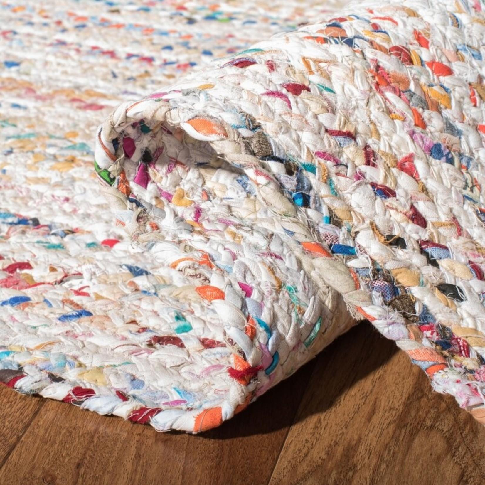 *2'6 x 4' - Hurst Abstract Handmade Braided Cotton Multicolor Area Rug