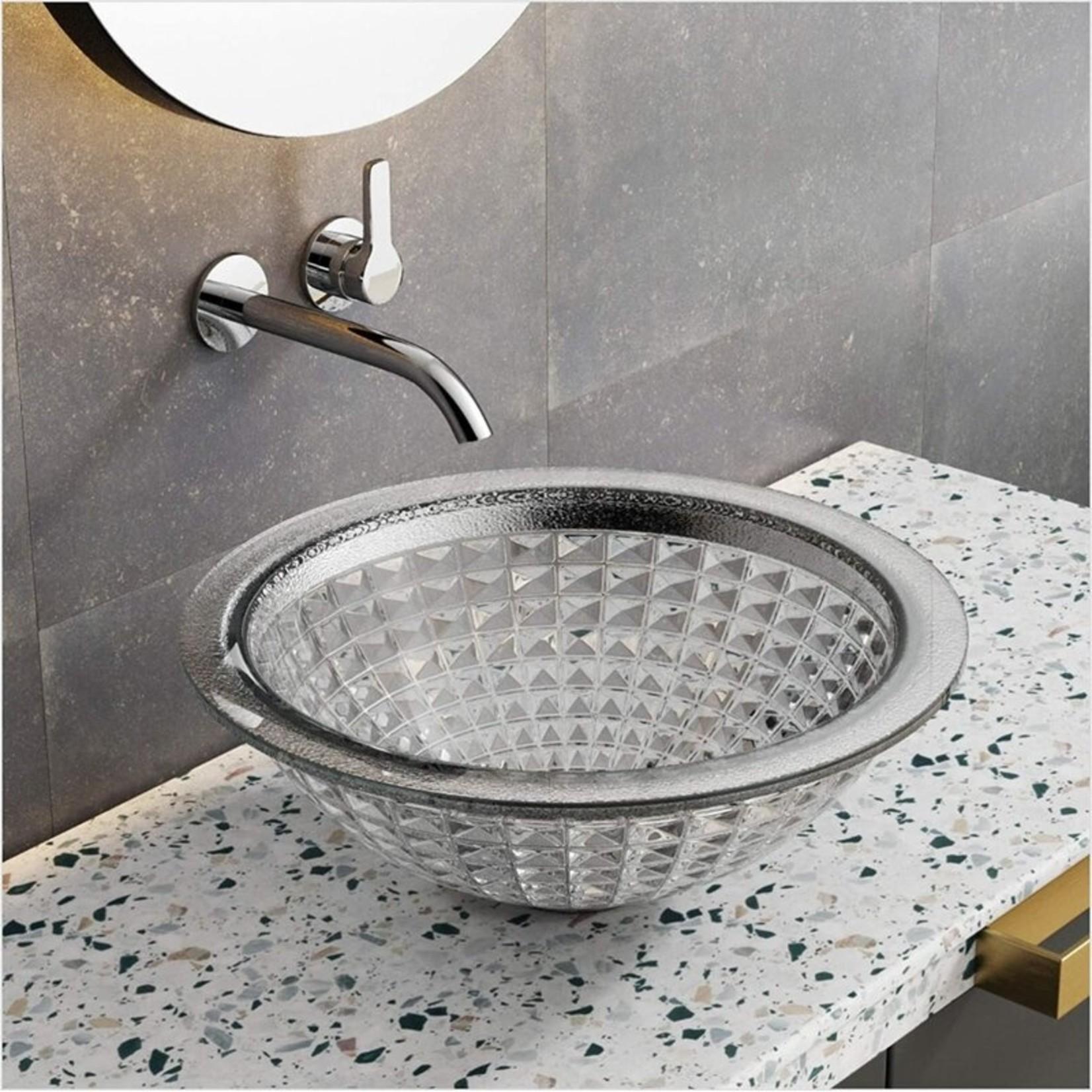 *Polished Silver Glass Handmade Circular Vessel Bathroom Sink