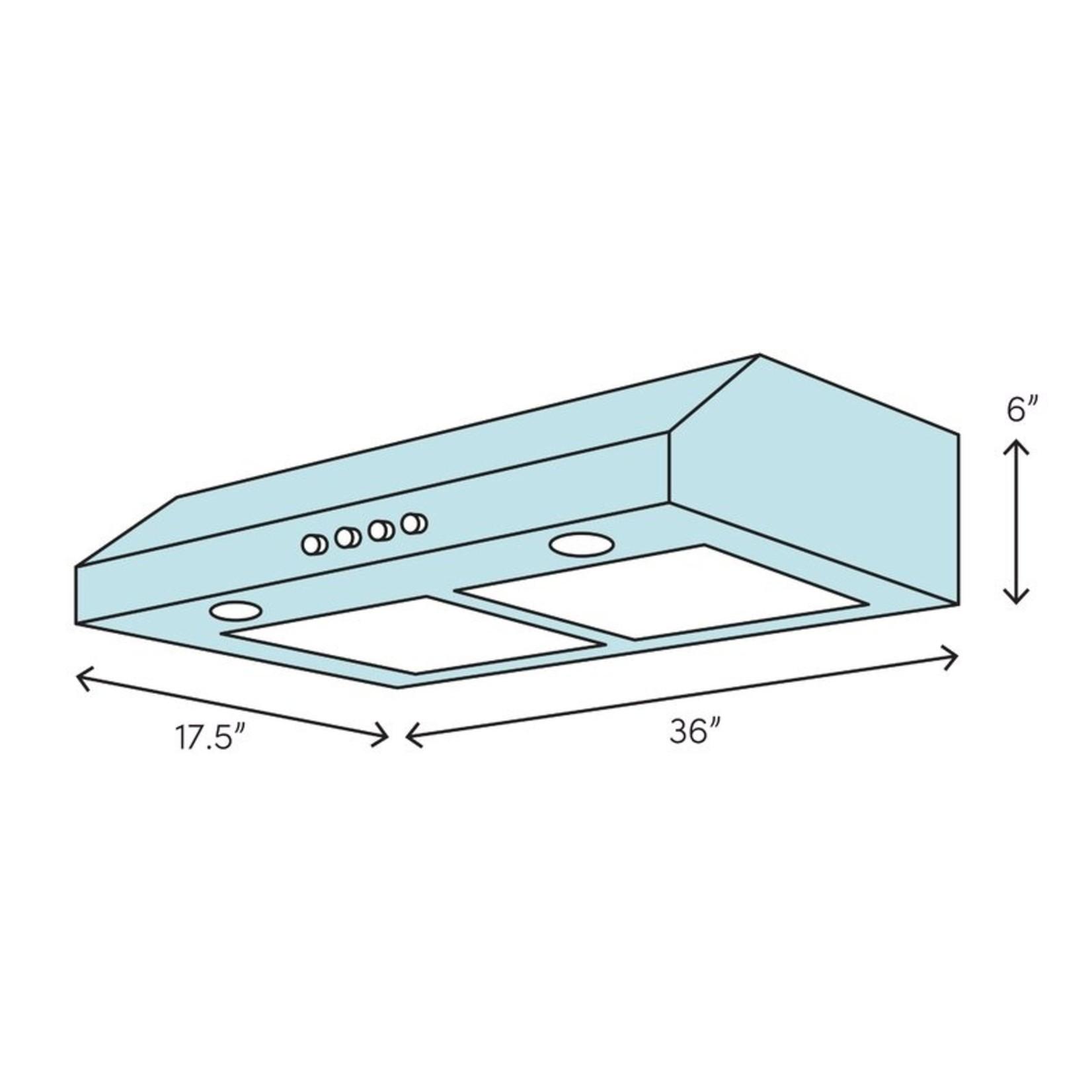 "*36"" 40000 Series 160 CFM Ducted Under Cabinet Range Hood"