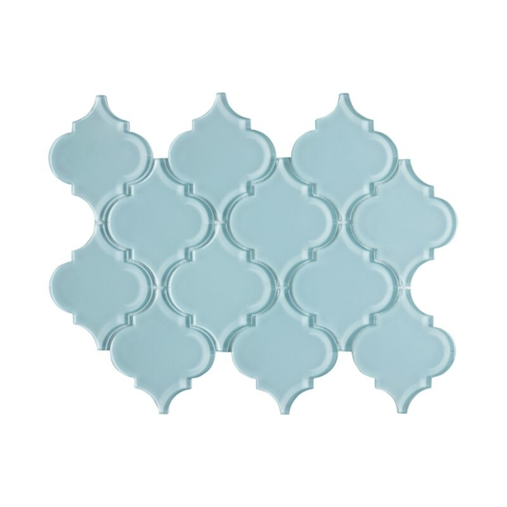 "*Water Jet Series 3"" x 4"" Glass Arabesque Mosaic Tile - Baby Blue"