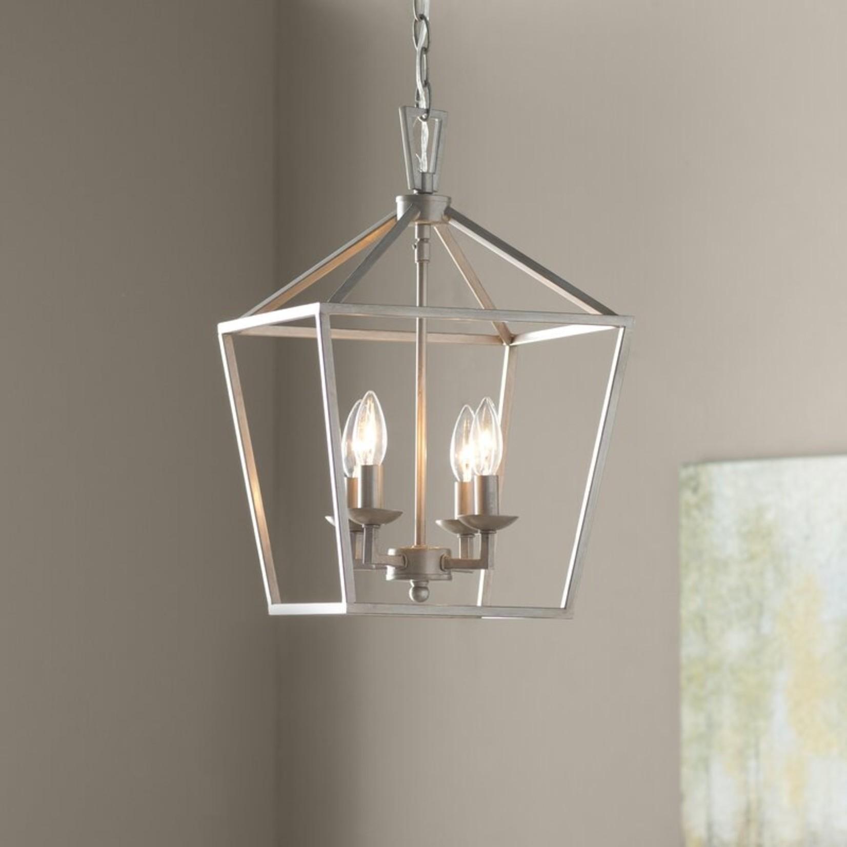 *Carmen 4 - Light Lantern Geometric Pendant - Antique Silver Leaf