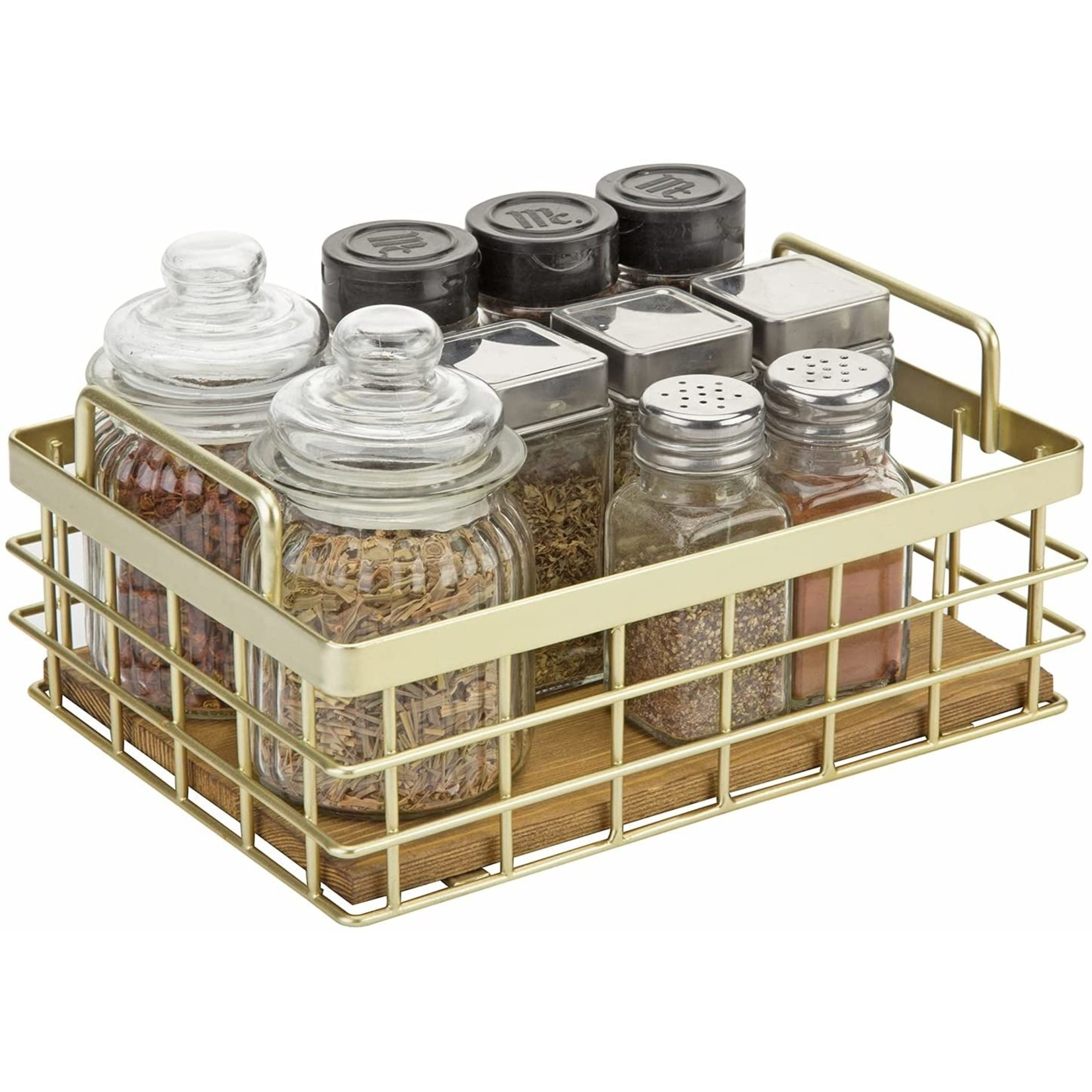 *Wood and Metal Decorative Basket Tray