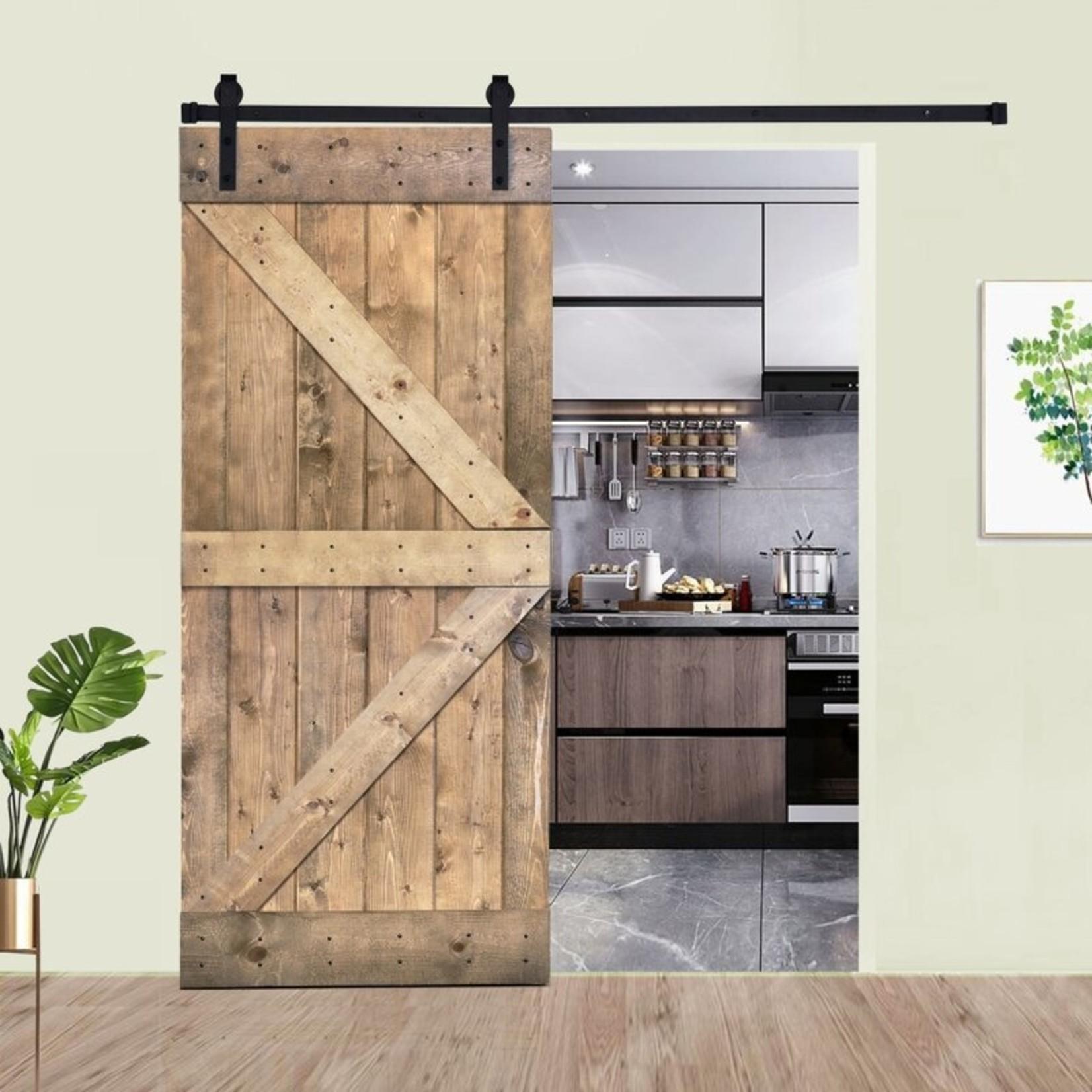 *Paneled Manufactured Wood Painted Barn Door without Installation Hardware Kit - some damaged