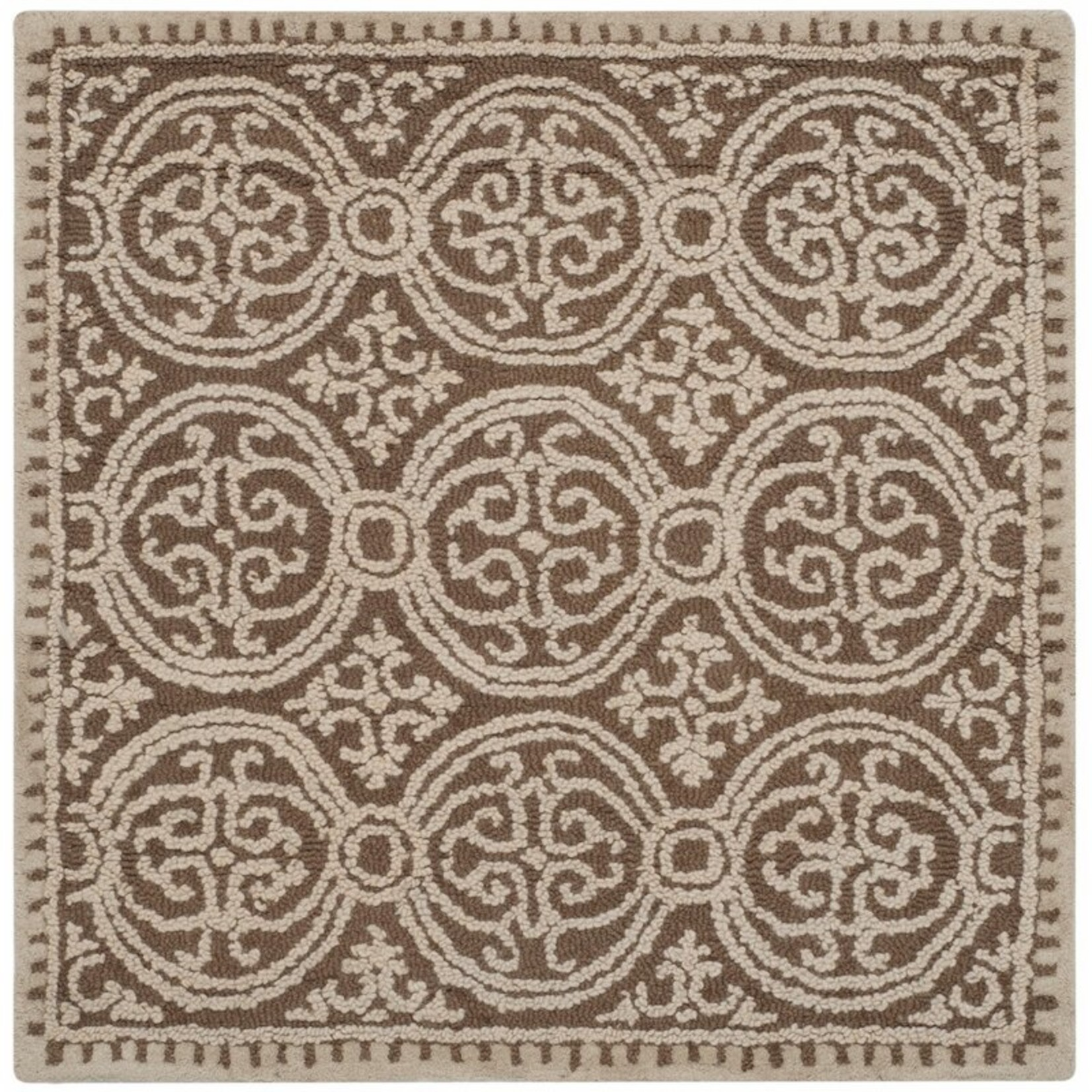 "* 10"" Square - Fairburn Handmade Tufted Wool Tan Rug"