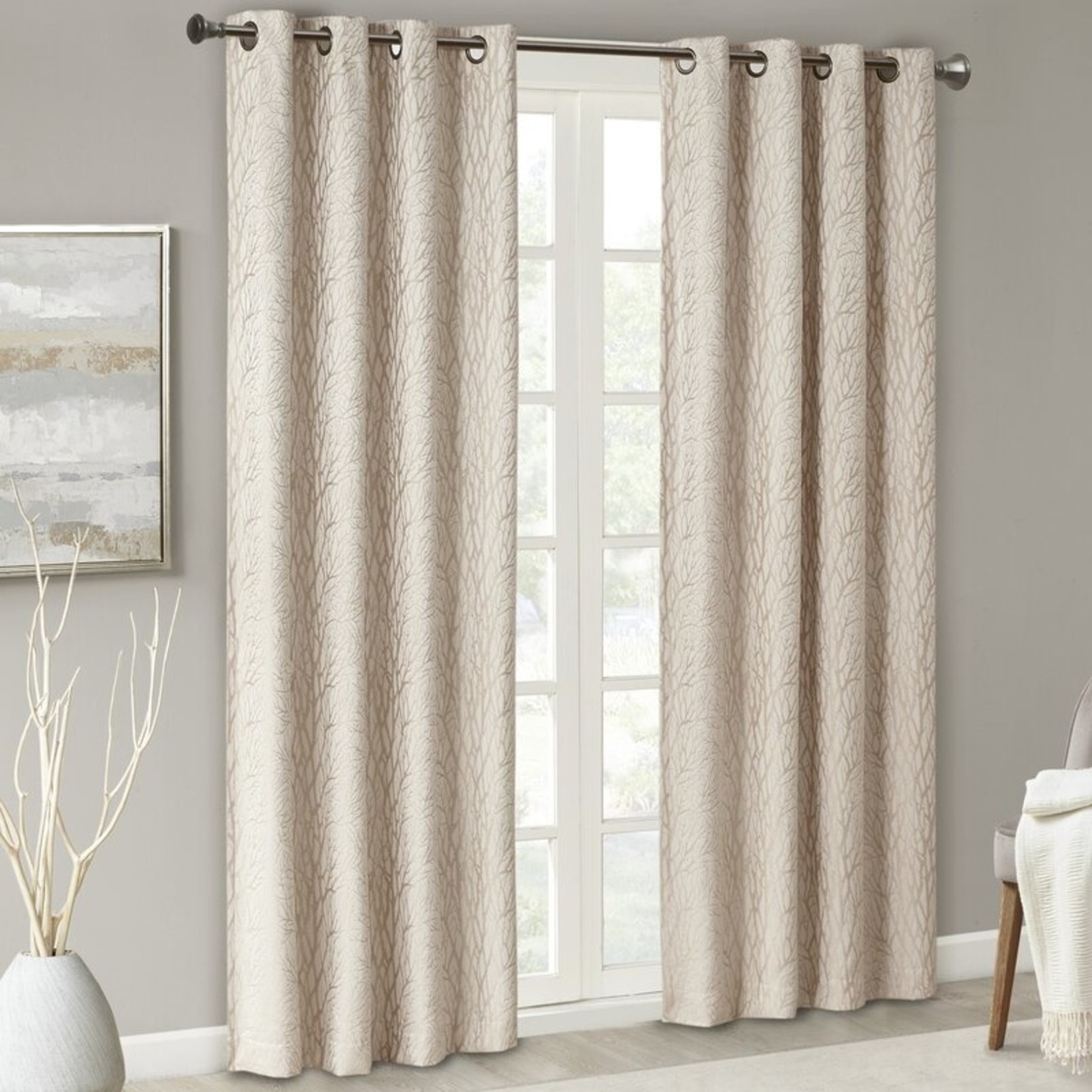 "*50"" x 95"" - Schoodic Branch Jacquard Blackout Thermal Grommet  Curtain Panels"