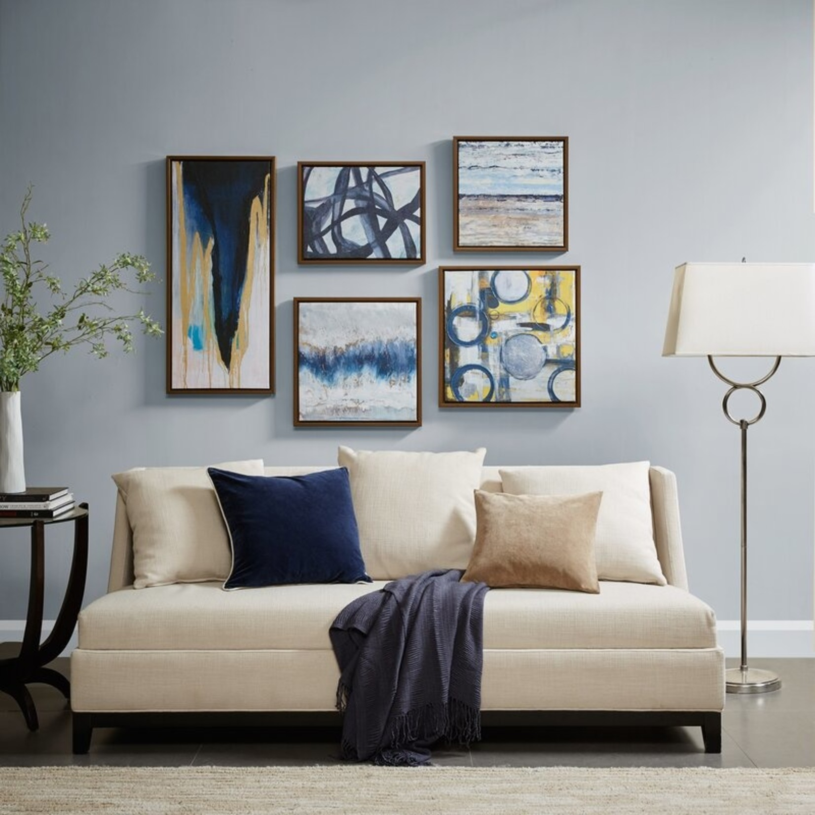*Blue Bliss - 5 Piece Wrapped Canvas Graphic Art Print Set
