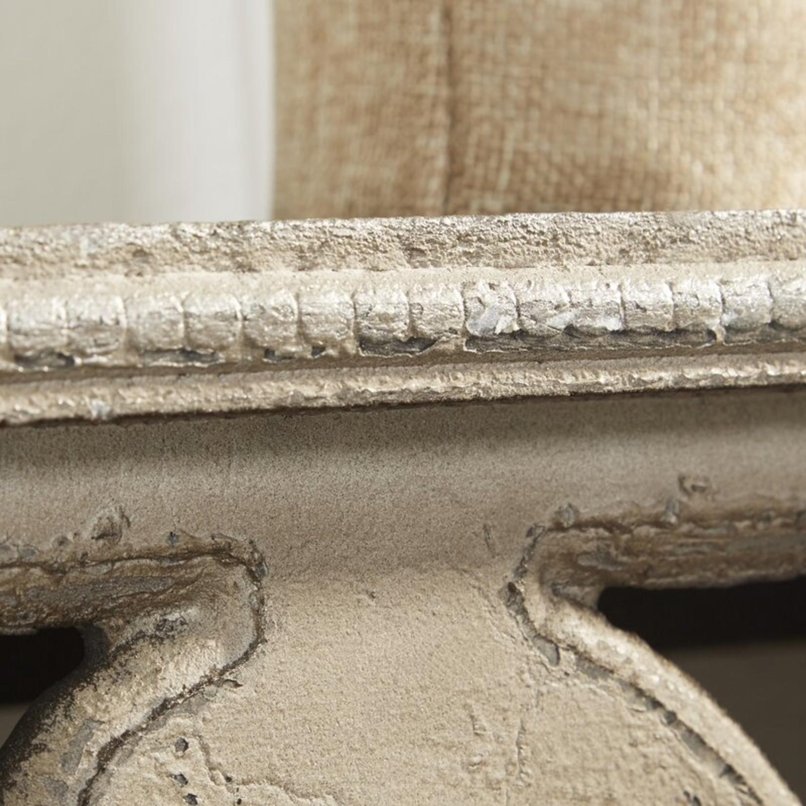 """*48"""" Addilyn Ornate Wooden Wall Shelf - Distressed Whitewash"""
