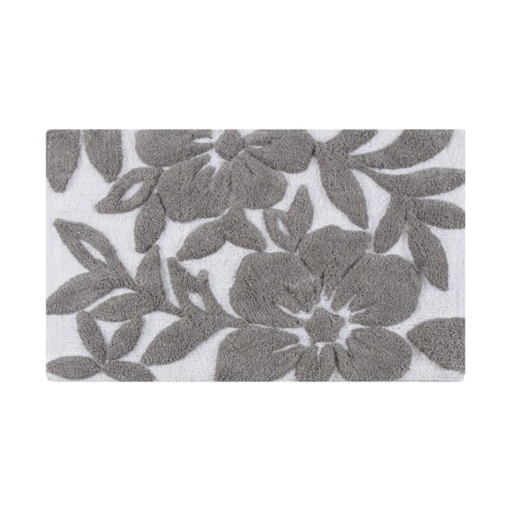 * 30'' W x 50'' L - Aticus Tufted Leaf Rectangle Plastic/Vinyl Non-Slip Floral Bath Rug - White/Grey