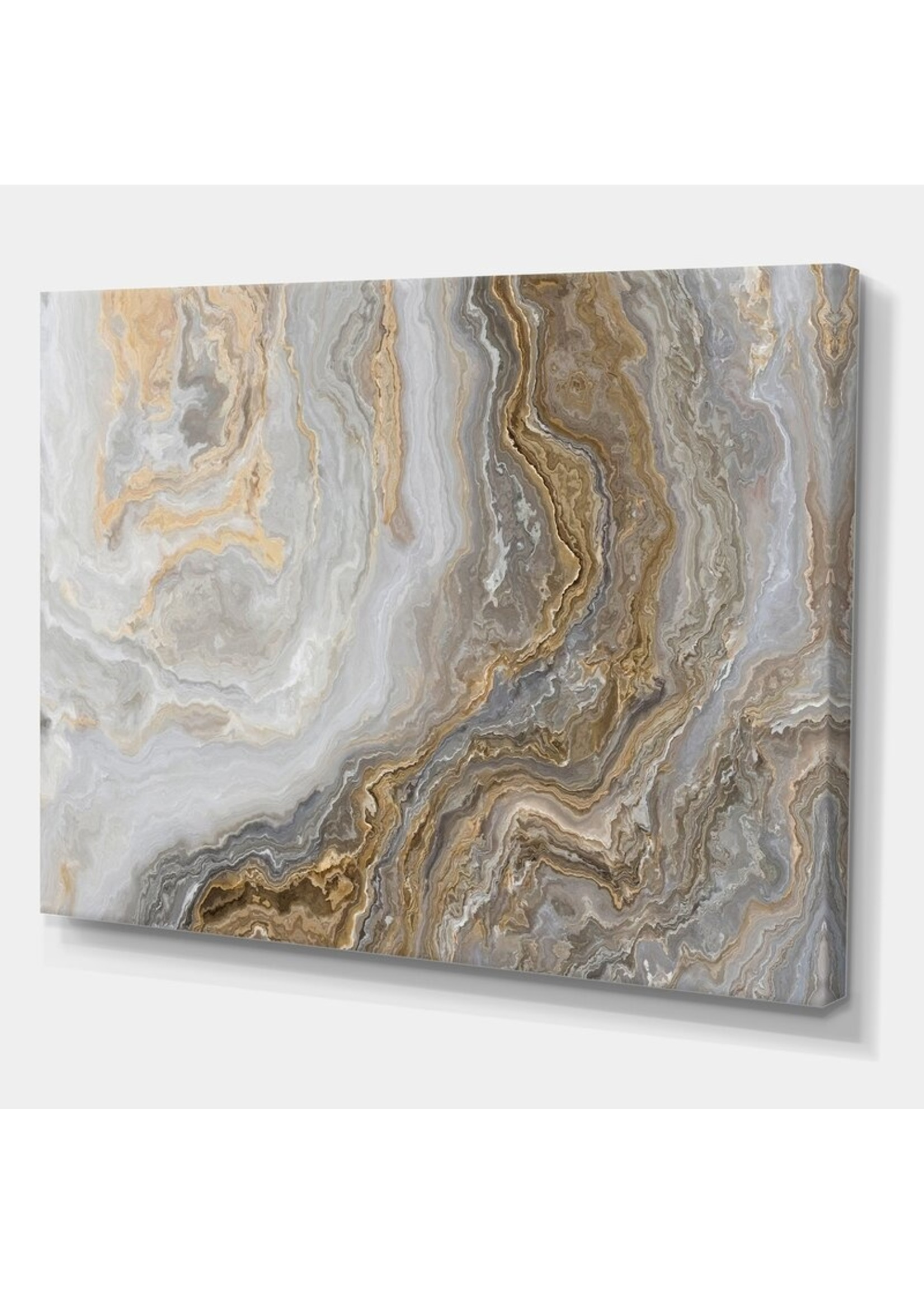 """*30"""" x 40"""" - White Marble with Curley Gray and Gold Veins - Wrapped Canvas Painting Print"""