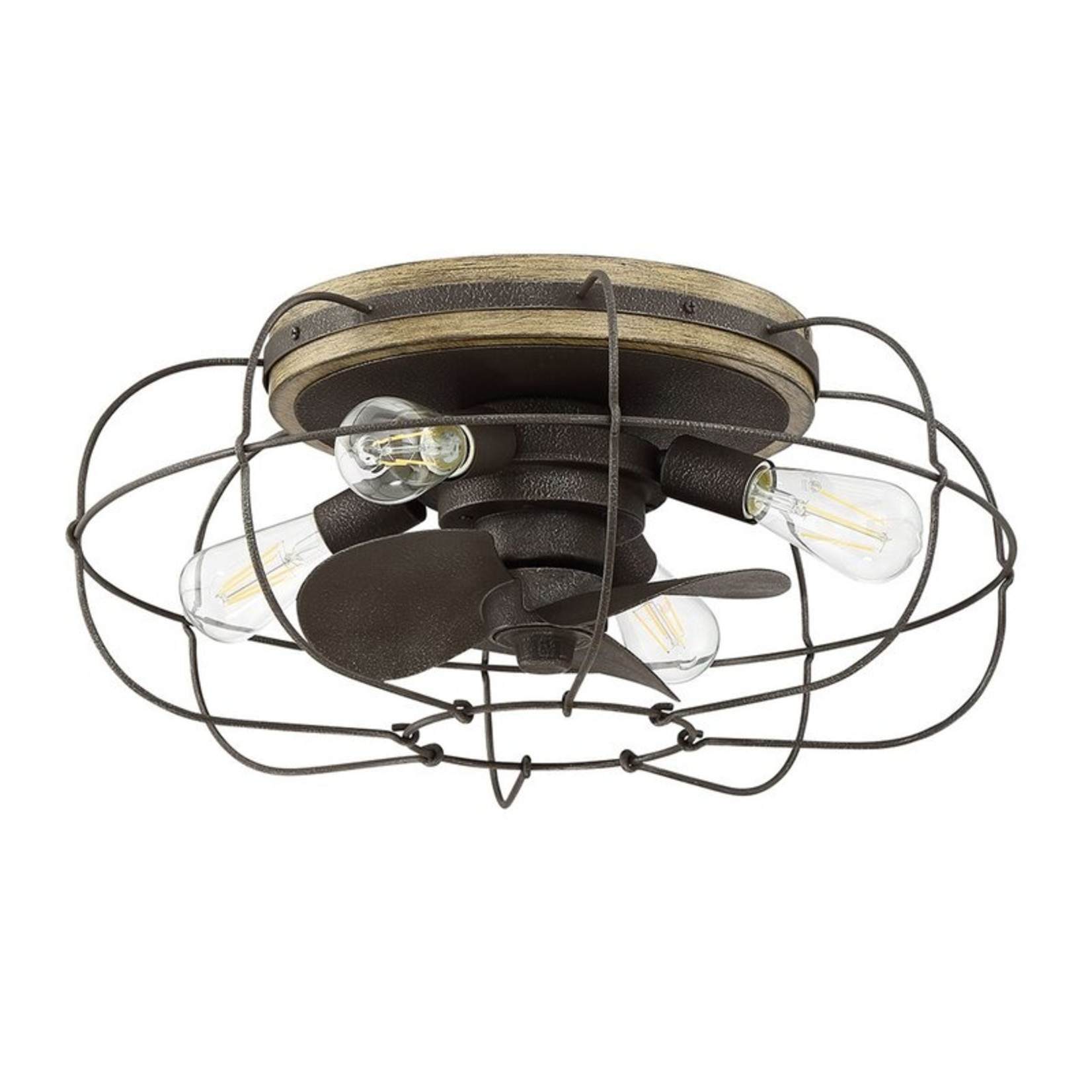 """*12"""" Evaro 3-Blade Standard Ceiling Fan with Light Kit included- Charred Iron"""