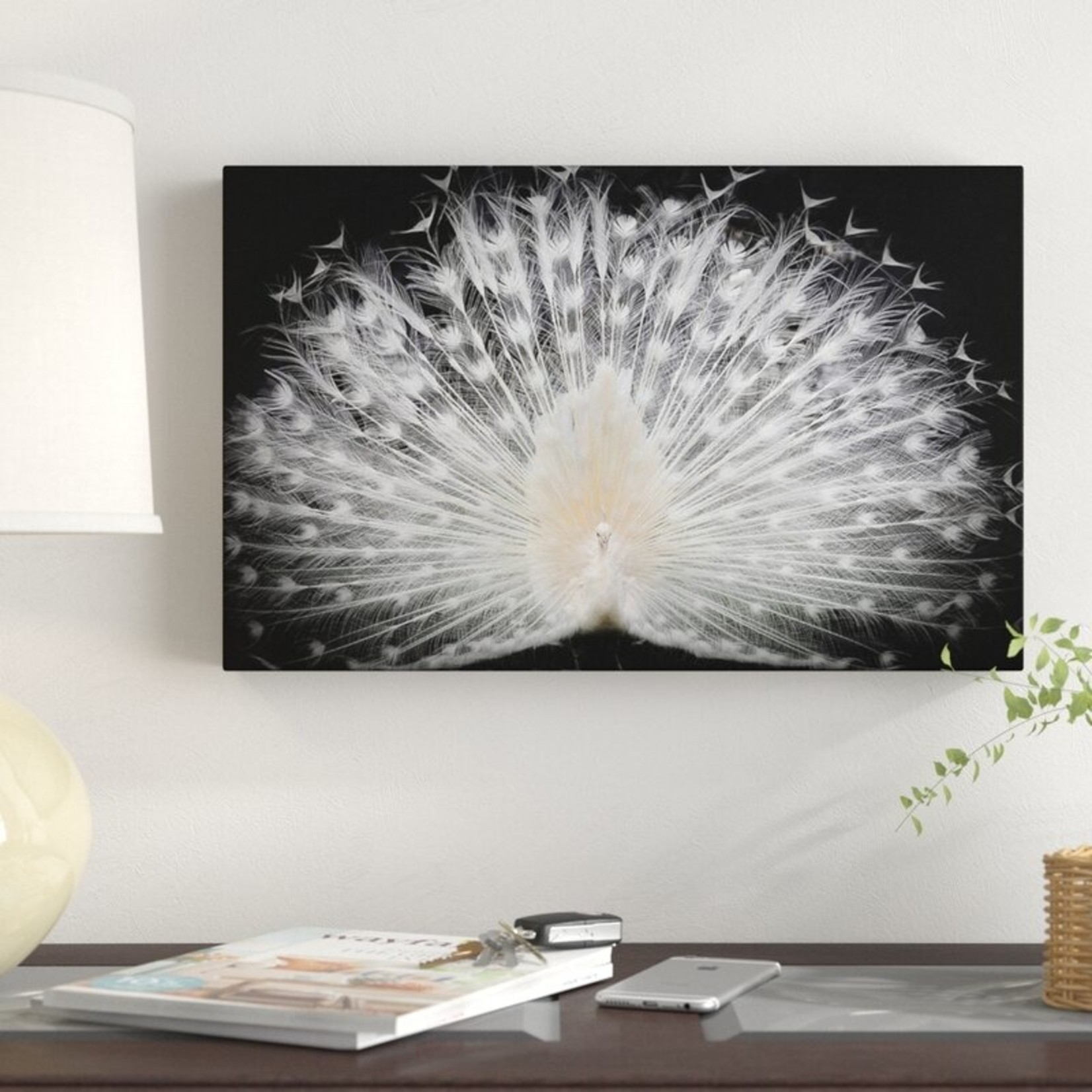 "*22"" x 32"" - White Peacock Portrait Photographic Print on Canvas"
